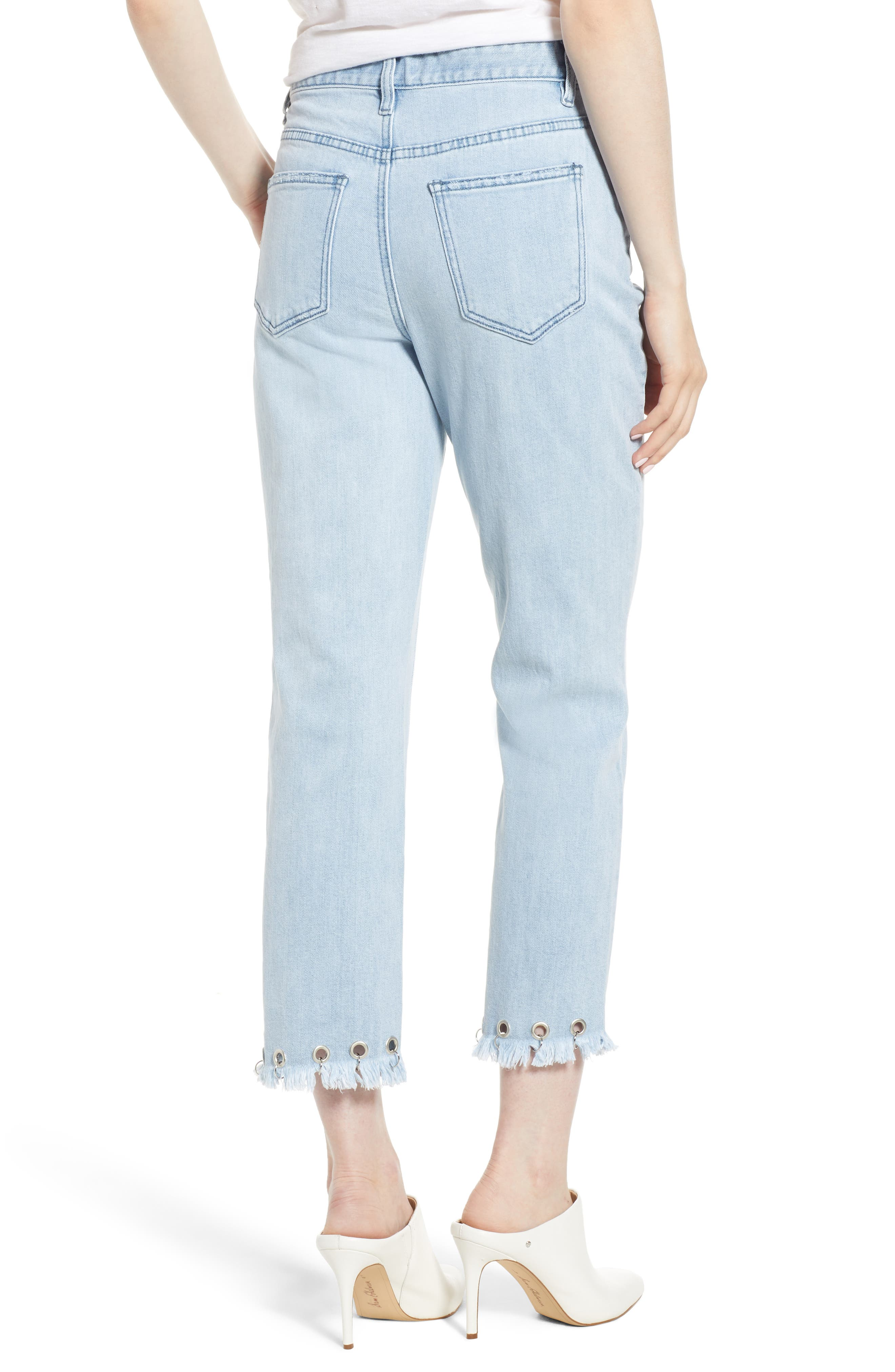 Grommet Hem Distressed Crop Jeans,                             Alternate thumbnail 2, color,                             Light Wash