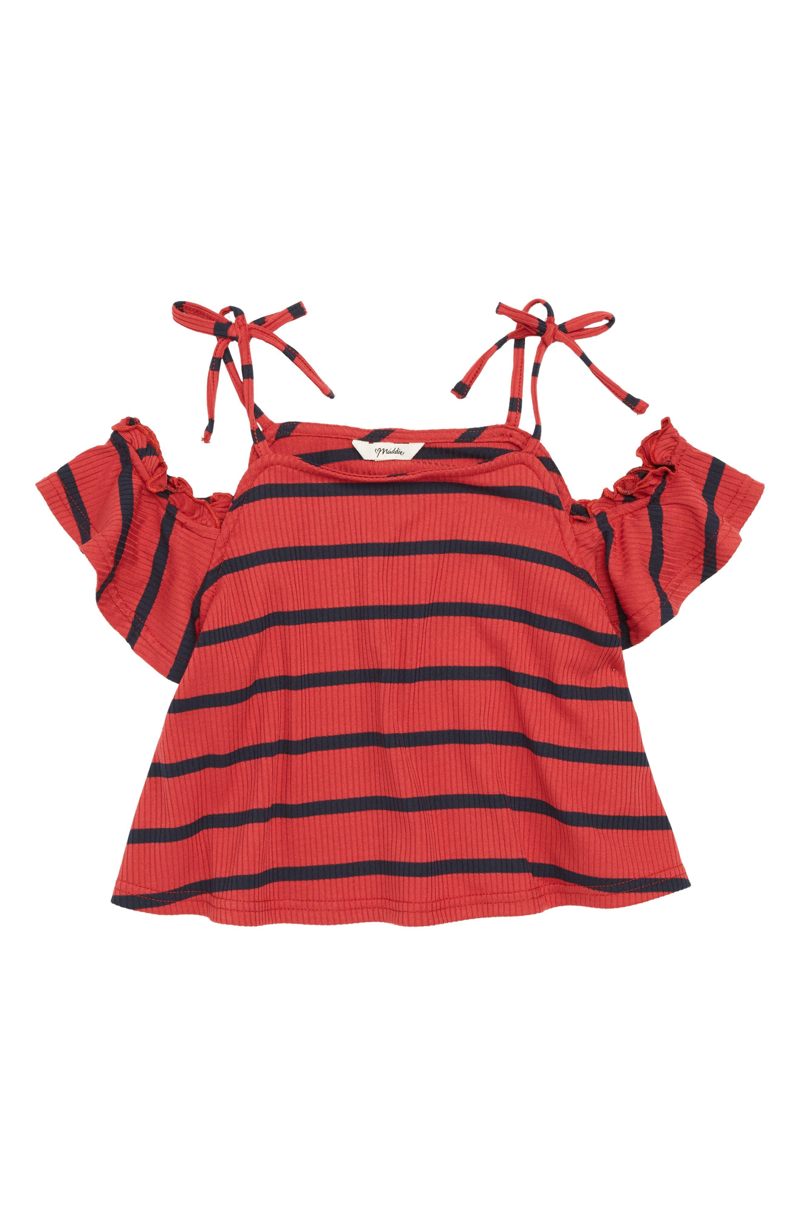 Stripe Cold Shoulder Top,                         Main,                         color, Red/ Navy