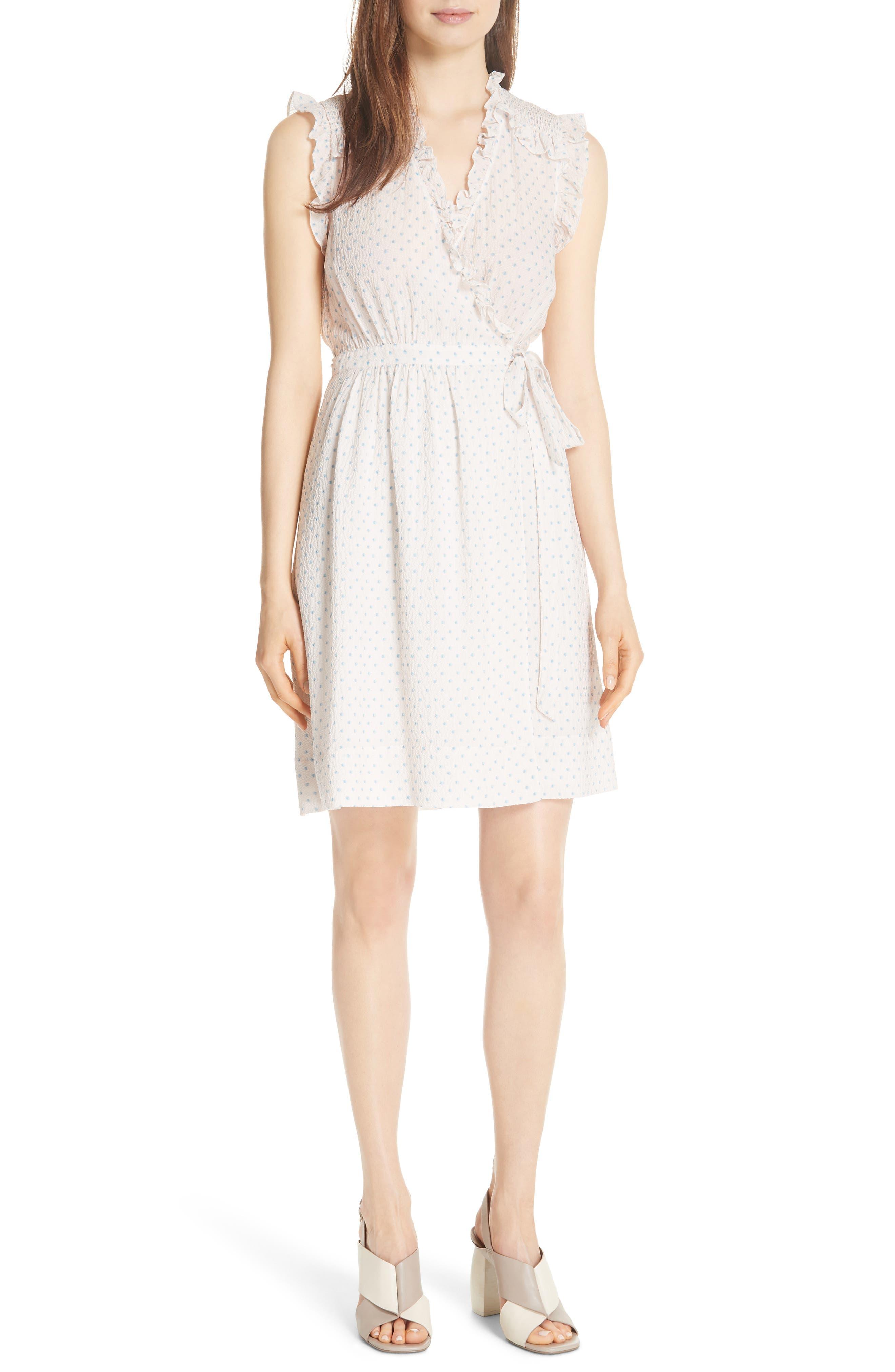 Dot Ruffle Faux Wrap Dress,                         Main,                         color, Vanilla Combo
