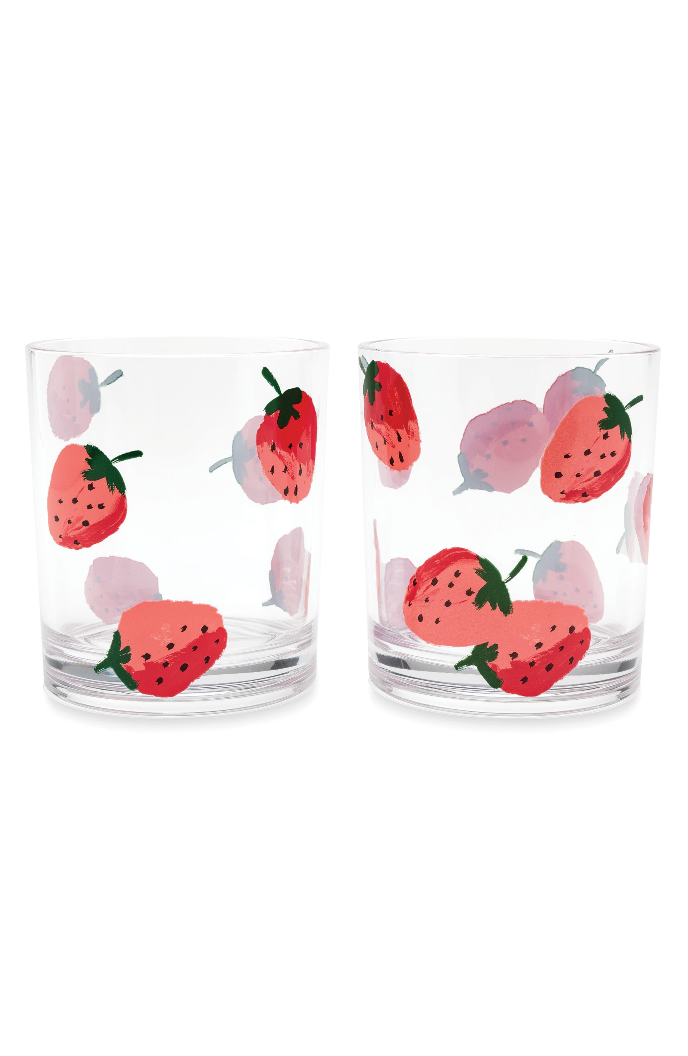 kate spade new york set of 2 strawberry glasses