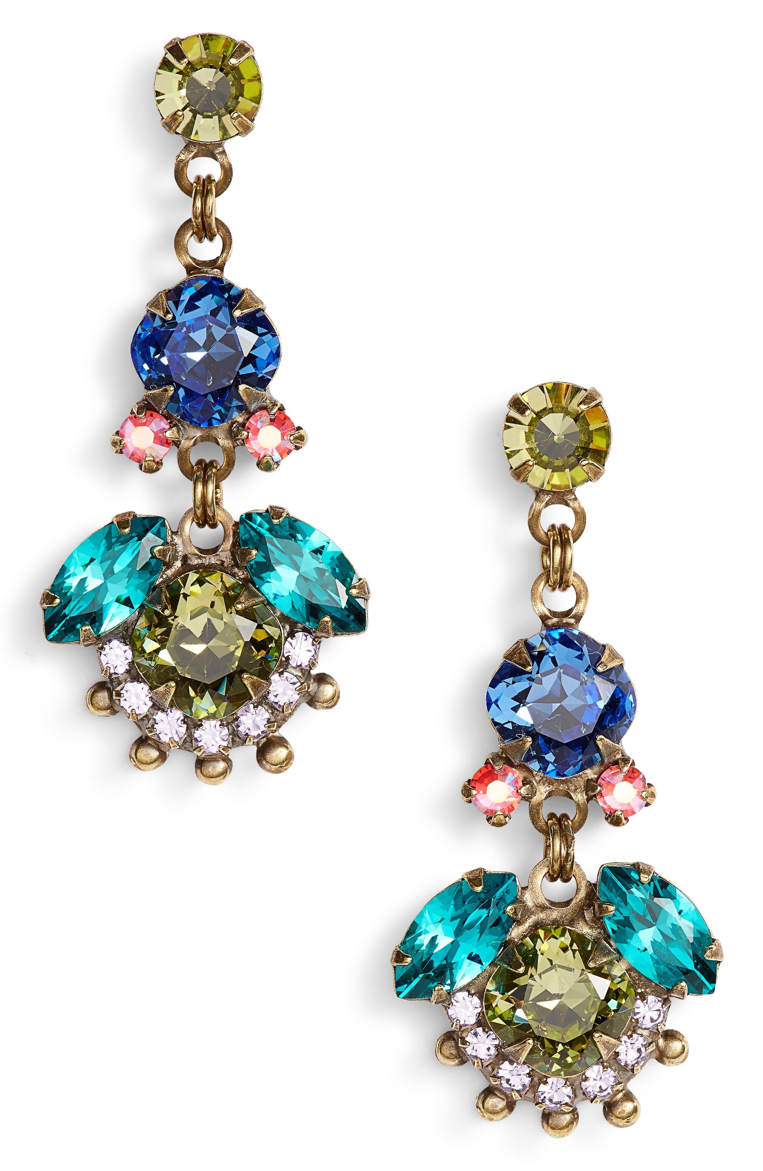 California Poppy Crystal Drop Earrings,                             Main thumbnail 1, color,                             Gold Multi