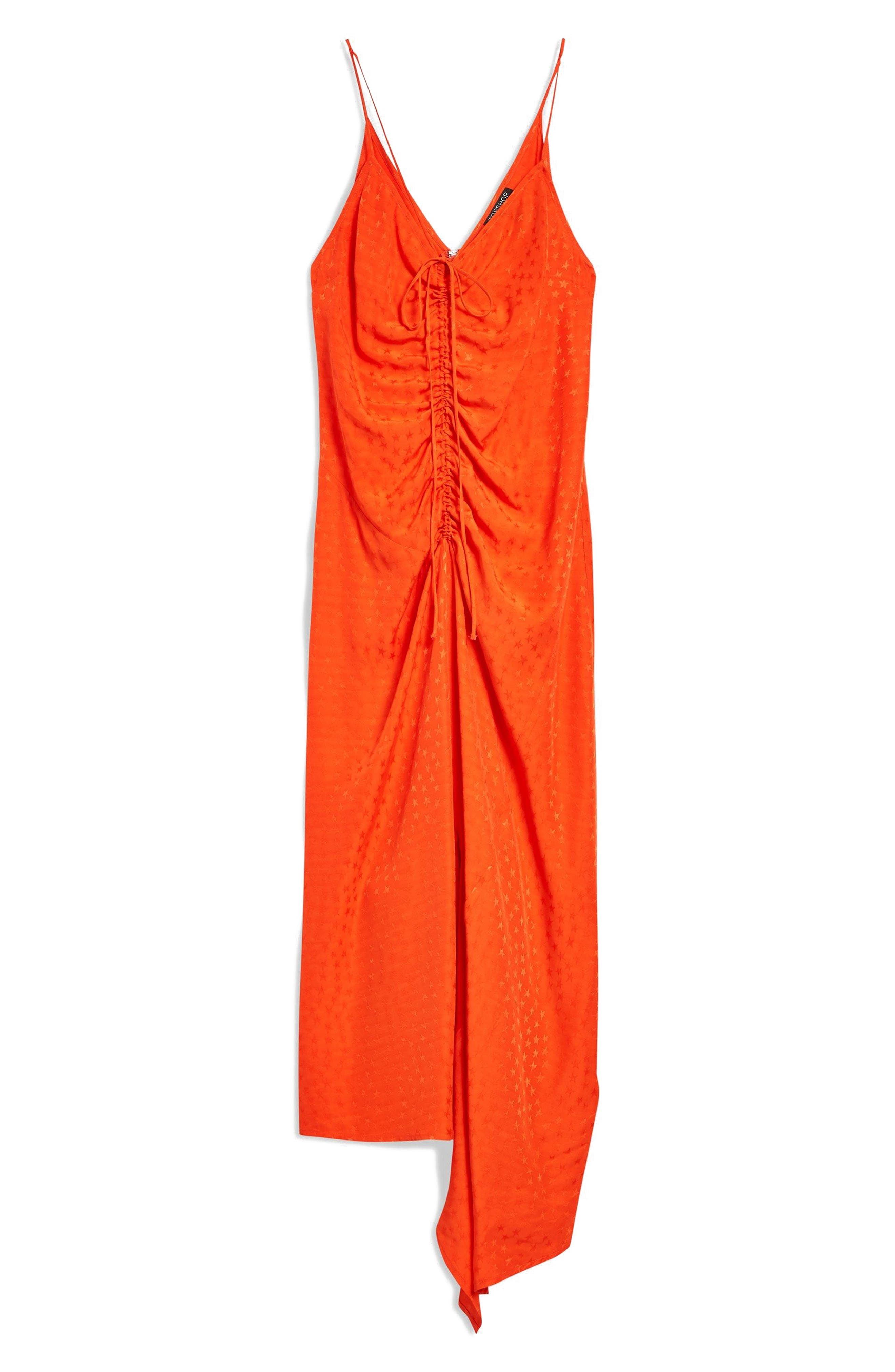 Star Jacquard Ruched Slipdress,                             Alternate thumbnail 4, color,                             Red