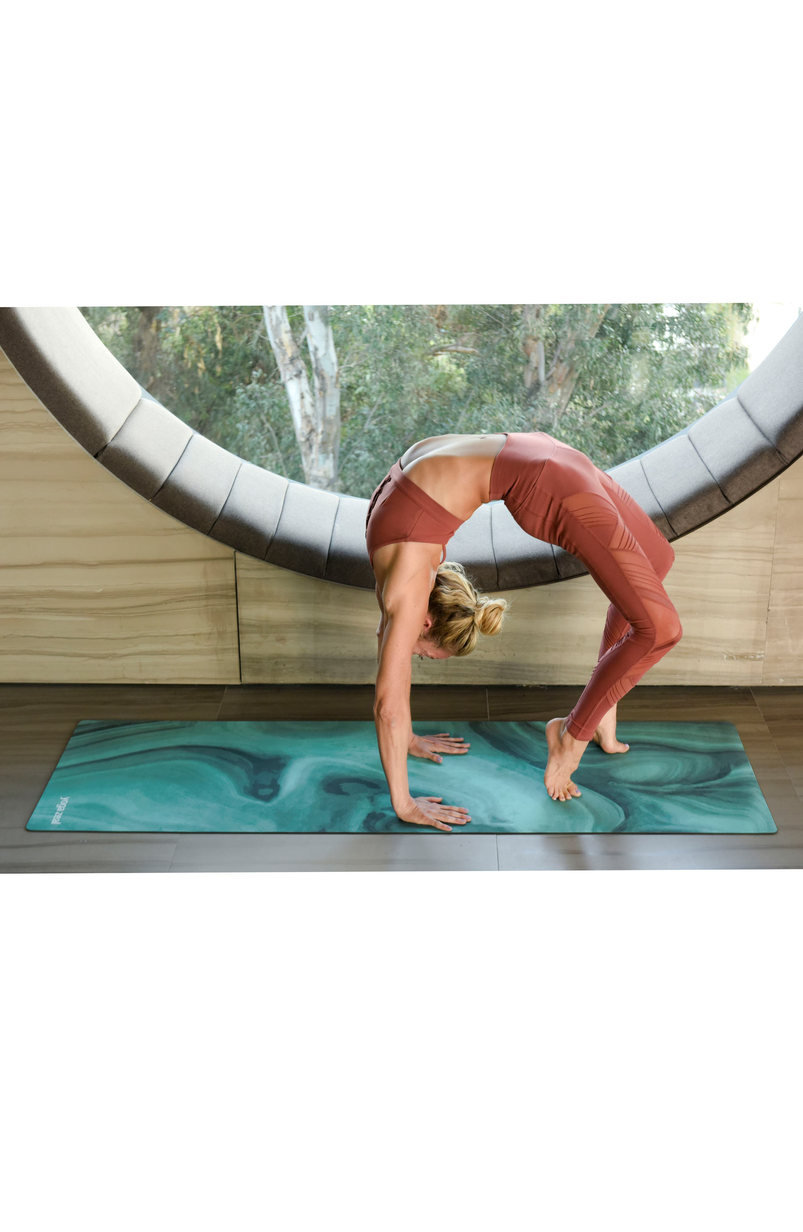 Malachite Print Yoga Mat,                             Alternate thumbnail 4, color,                             Green