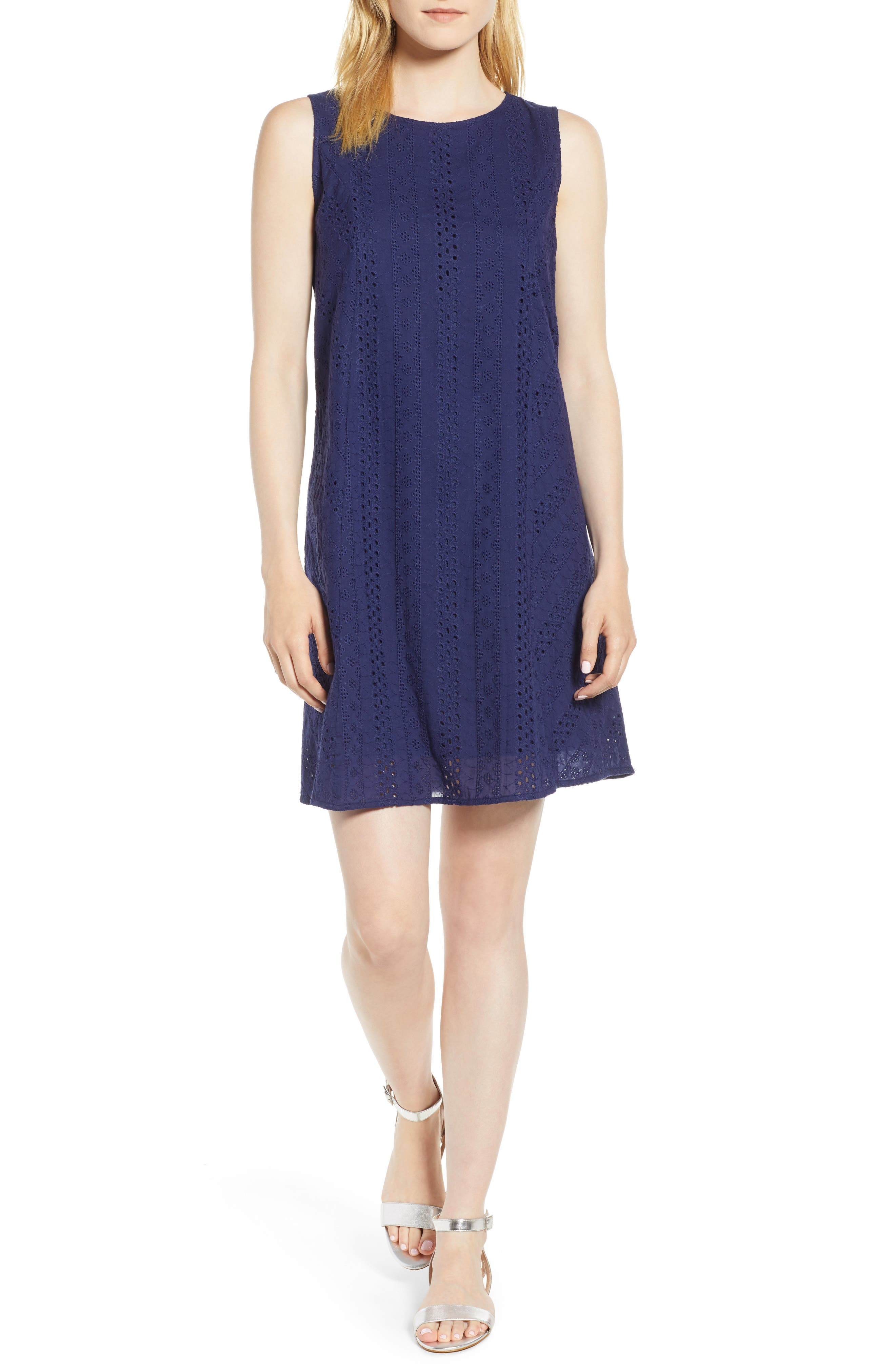 Eyelet Shift Dress,                         Main,                         color, Navy