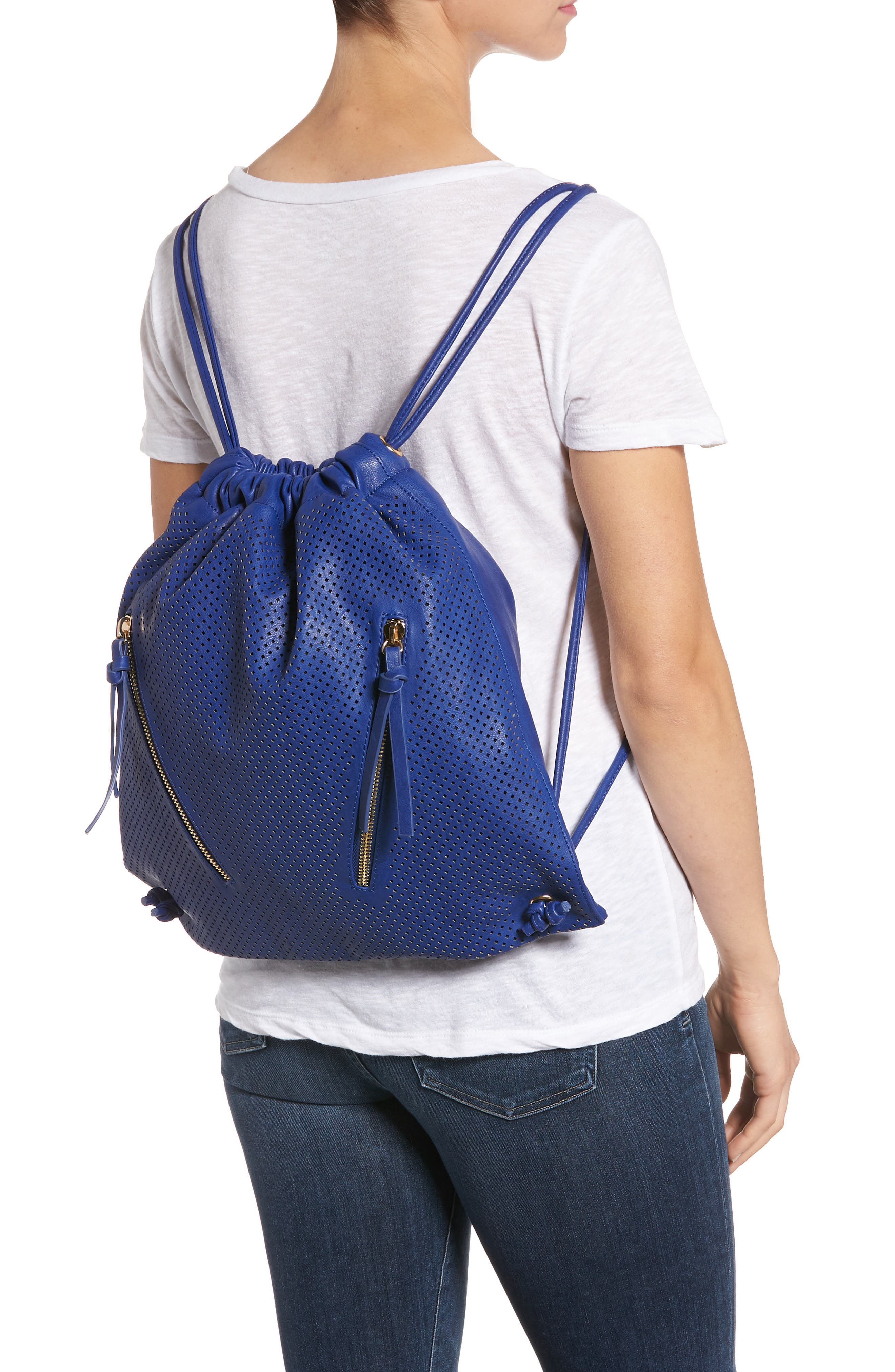 Perforated Double Zip Backpack,                             Alternate thumbnail 2, color,                             Cobalt
