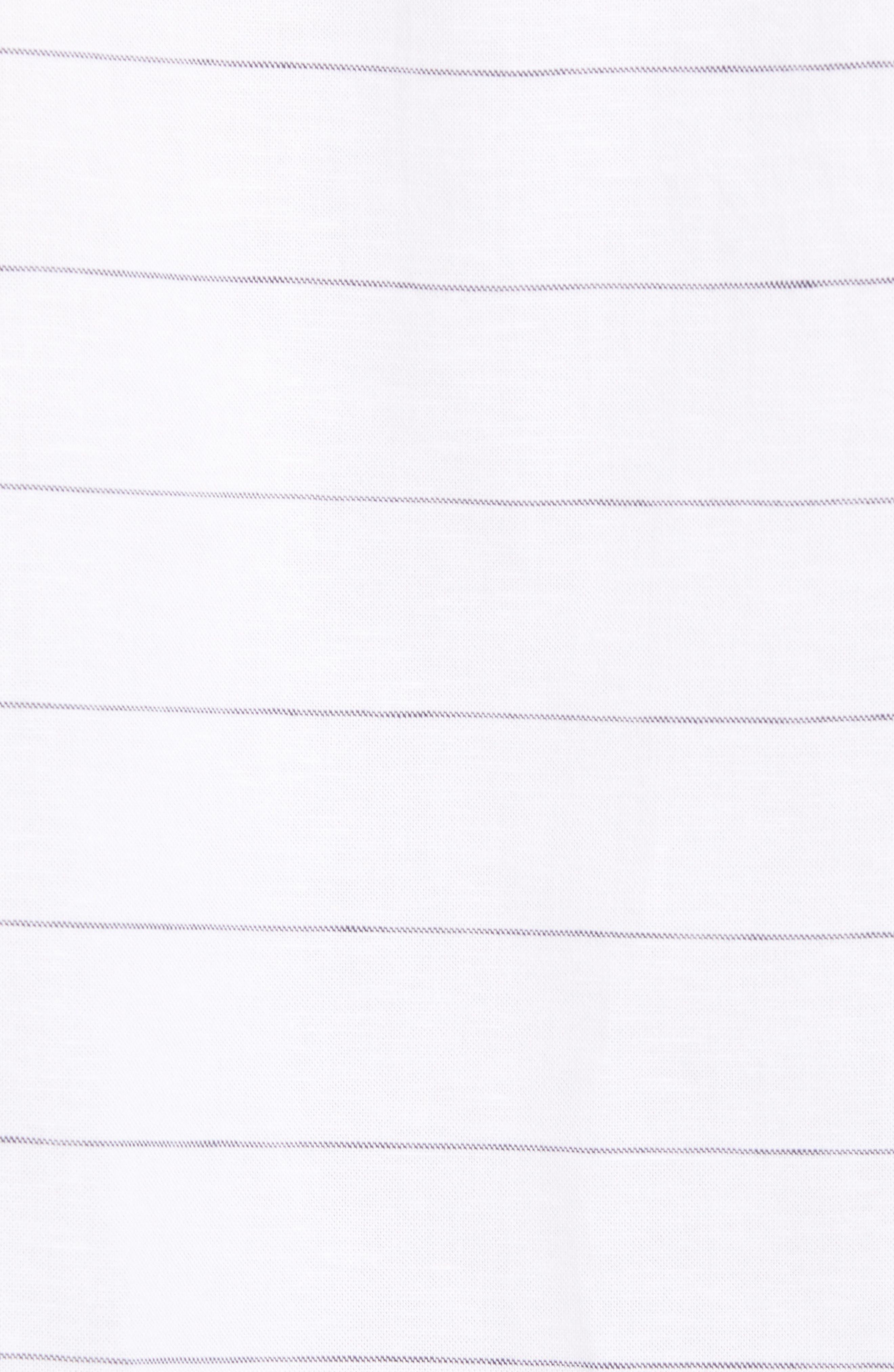 Slim Fit Stripe Cotton & Linen Sport Shirt,                             Alternate thumbnail 5, color,                             White