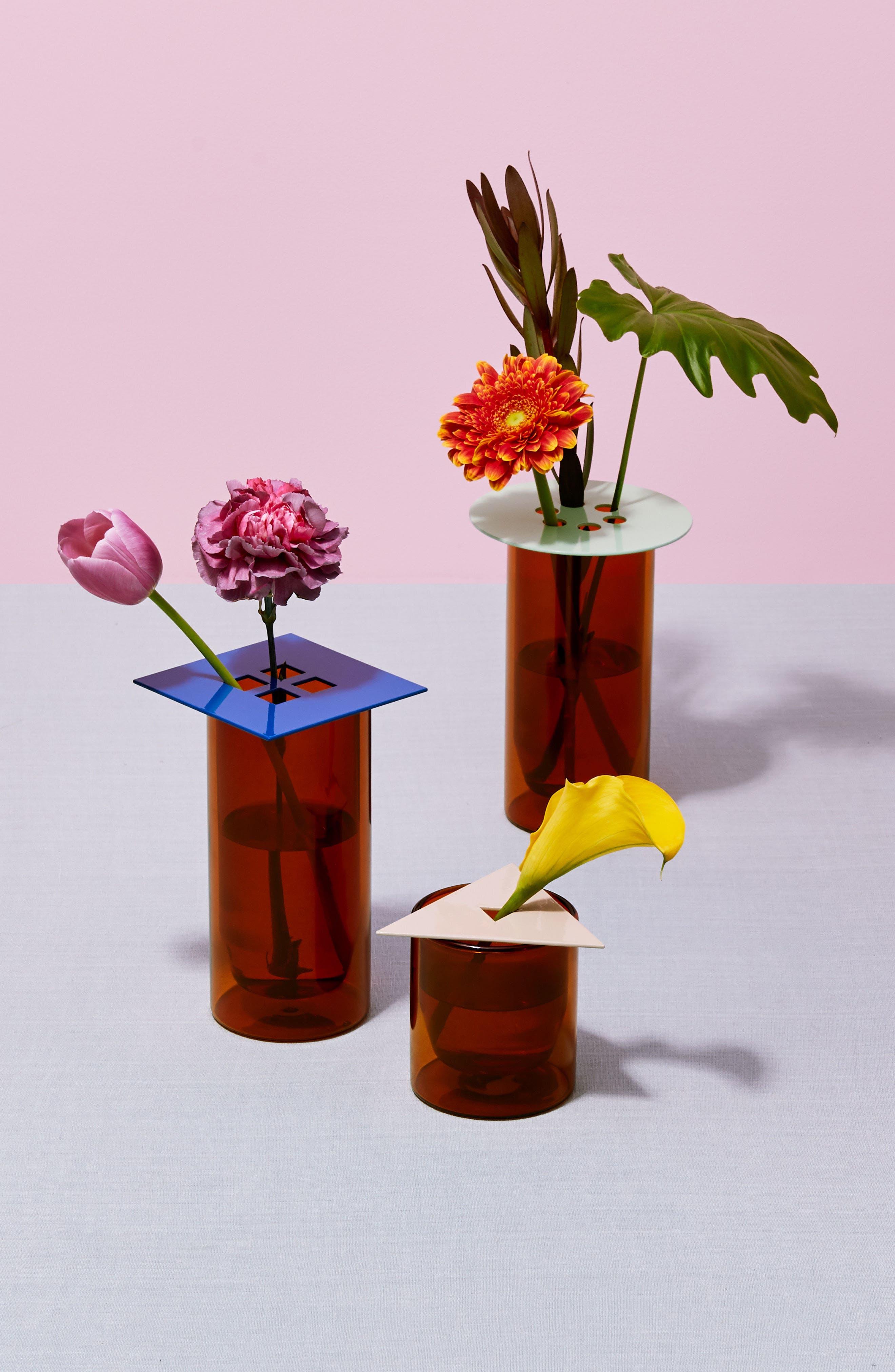 Set of 3 Anywhere Vase Converters,                             Alternate thumbnail 3, color,                             Tan/Mint/Cobal