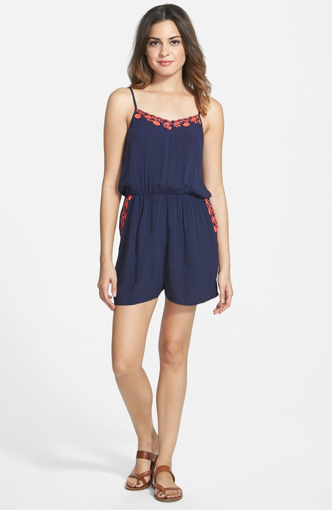 Alternate Image 1 Selected - BP. Embroidered Romper (Juniors)
