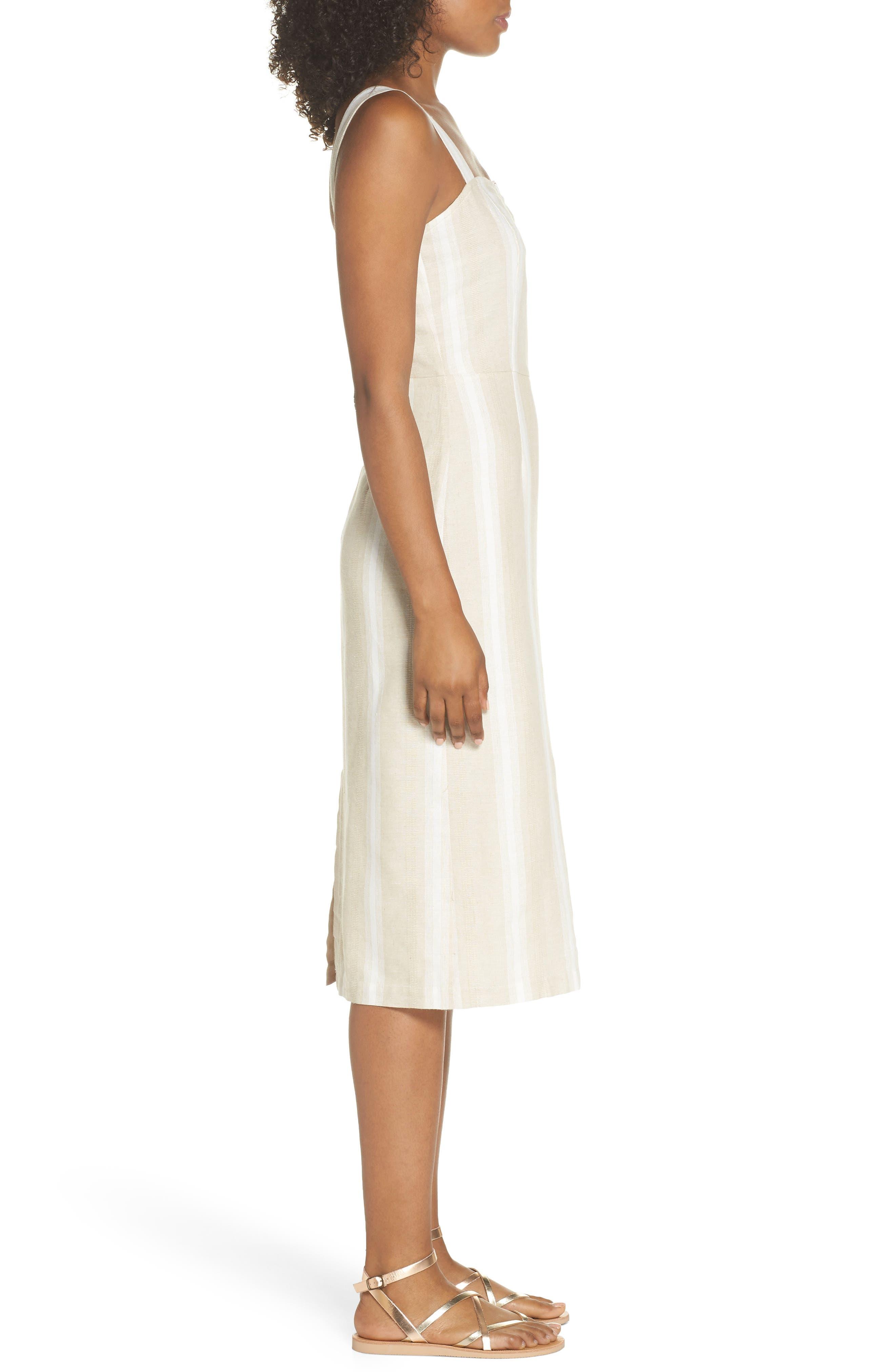 Peekabo Stripe Midi Dress,                             Alternate thumbnail 3, color,                             Sand