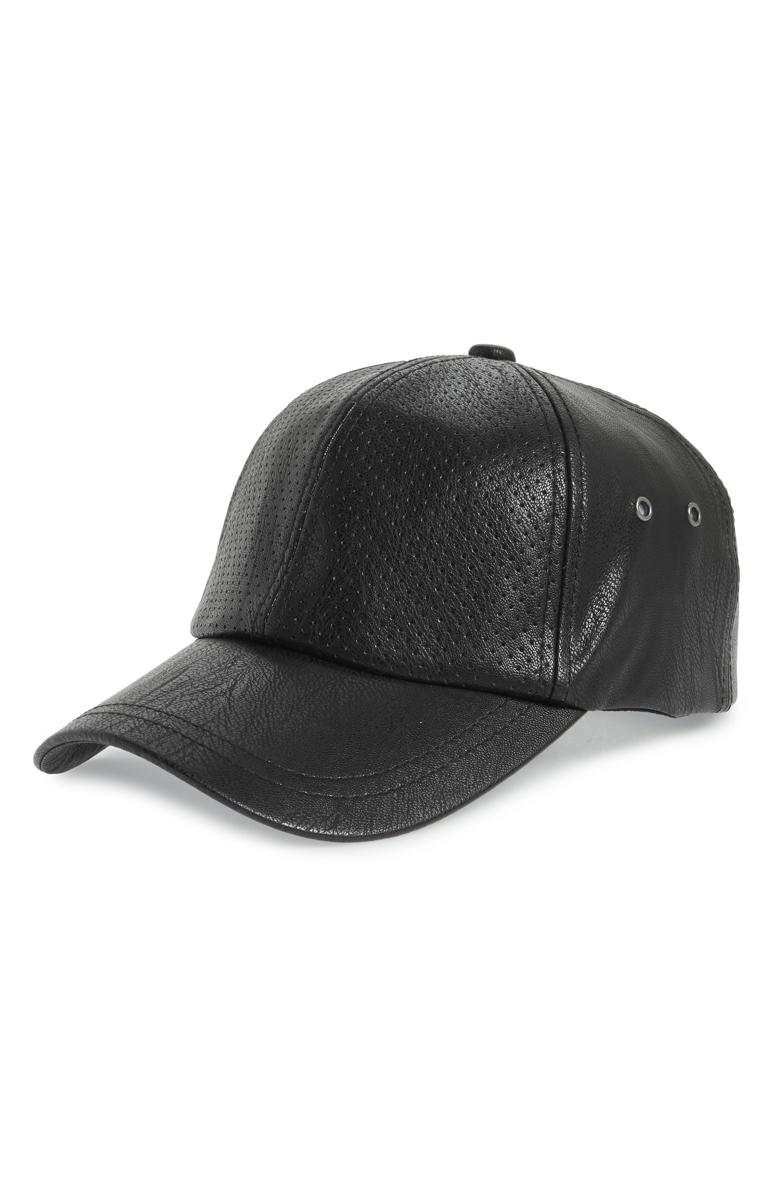 Faux Leather Baseball Cap,                             Main thumbnail 1, color,                             Black