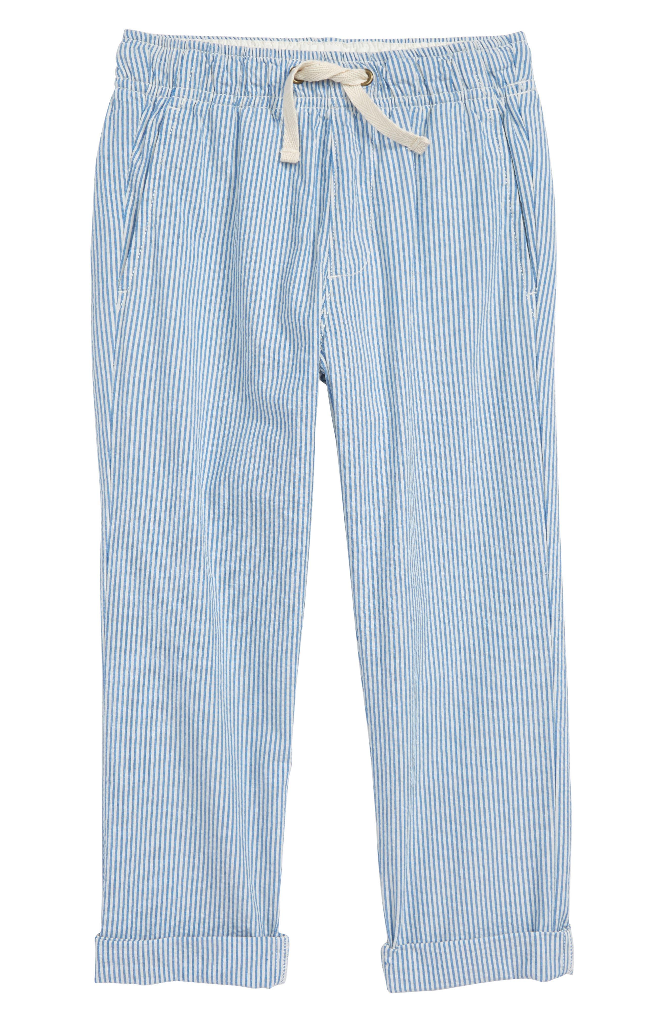 Seersucker Pants,                         Main,                         color, Crisp Azure White