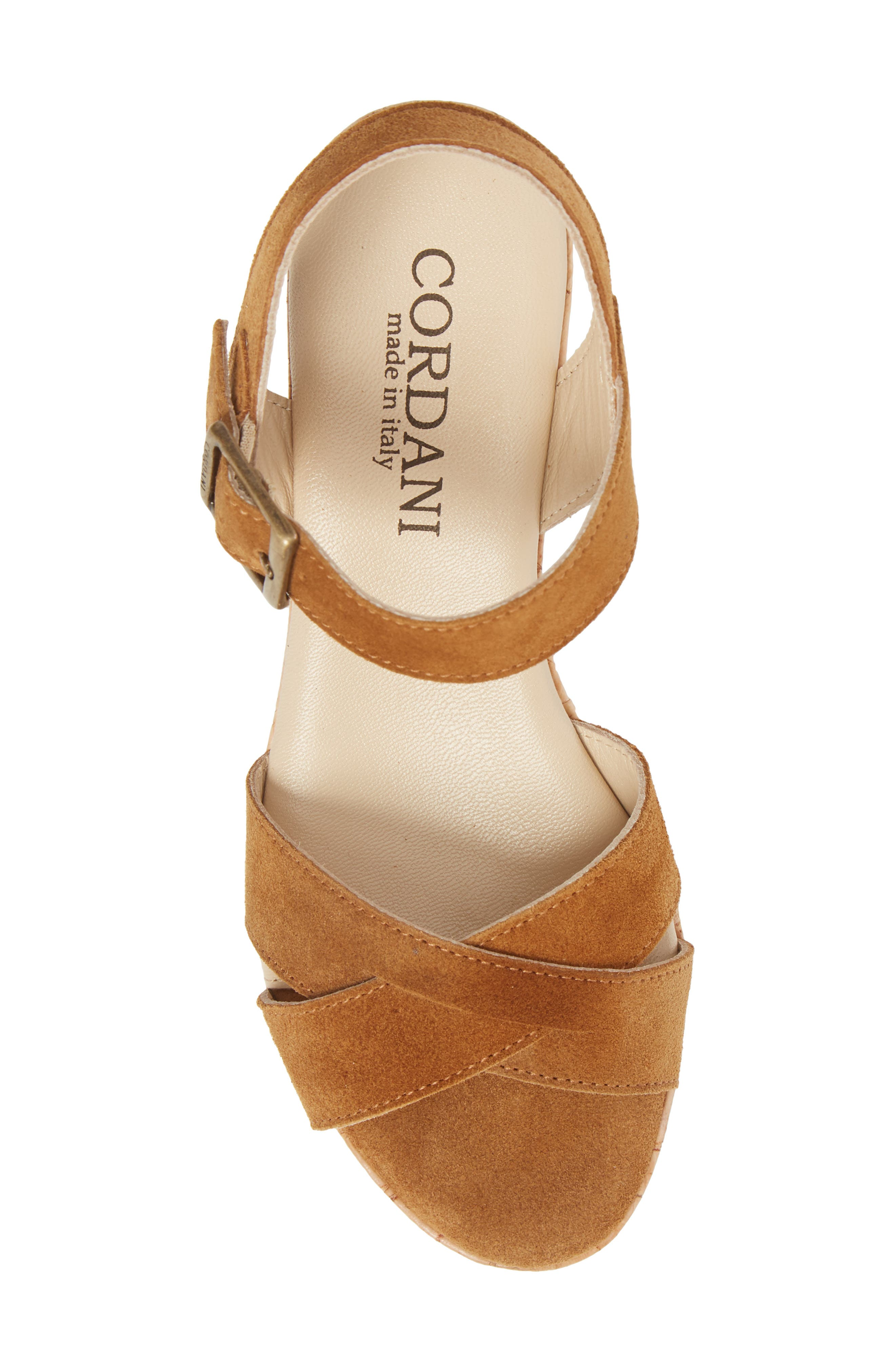 Candy Wedge Sandal,                             Alternate thumbnail 5, color,                             Cola Suede