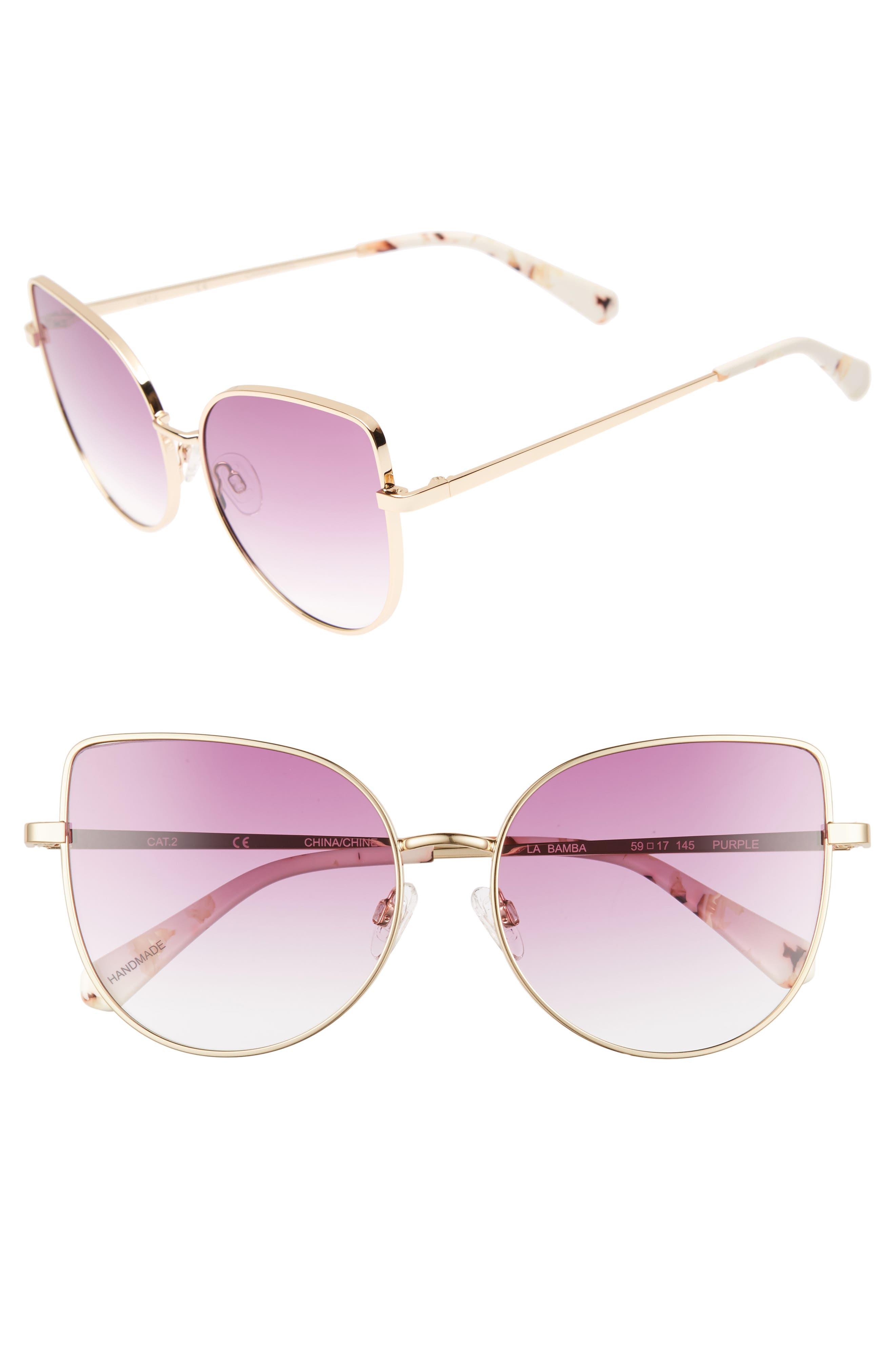 La Bamba 59mm Sunglasses,                         Main,                         color, Purple