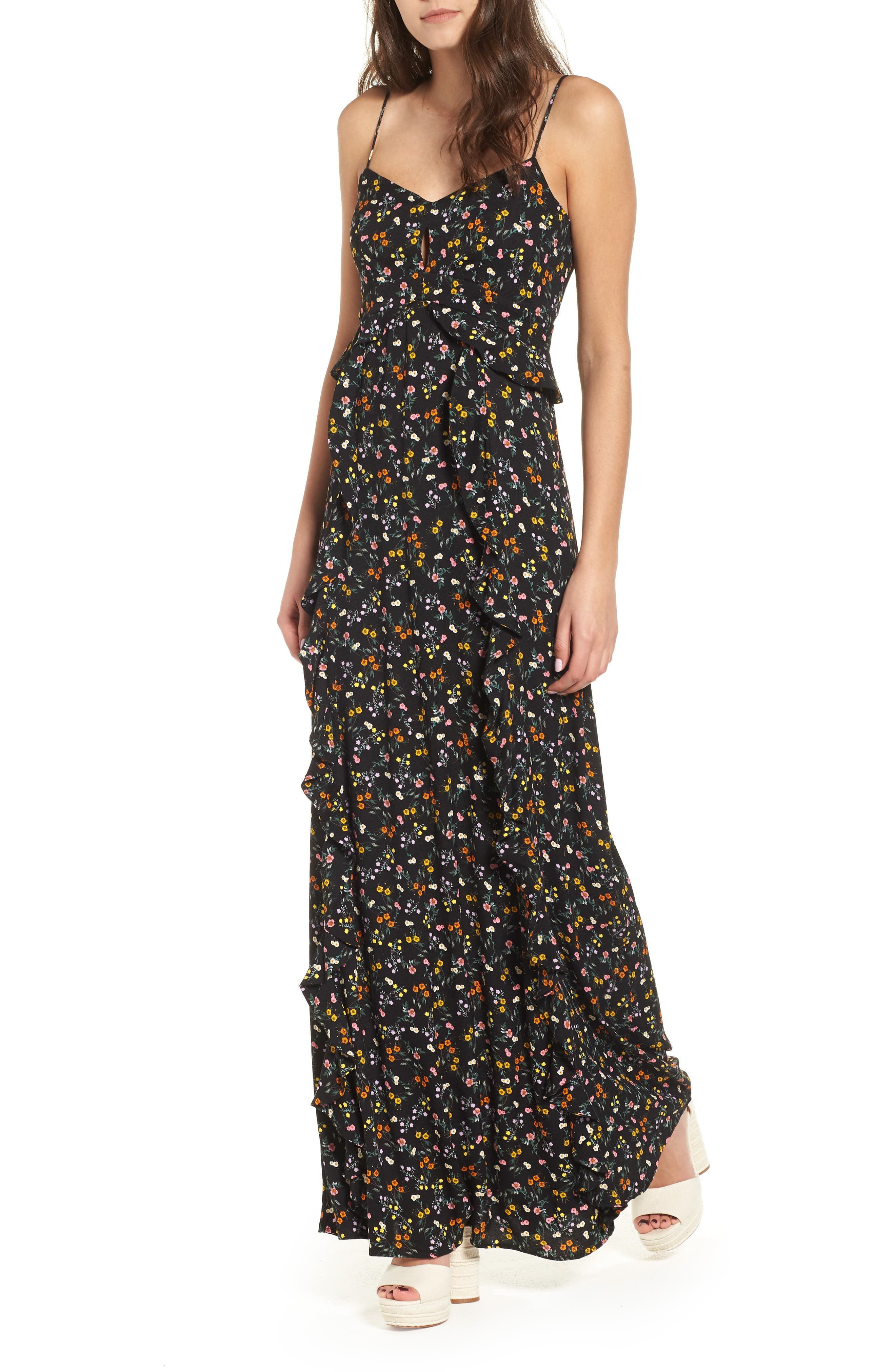 Kiki Ruffle Maxi Dress,                             Main thumbnail 1, color,                             Noir Petite Fleur
