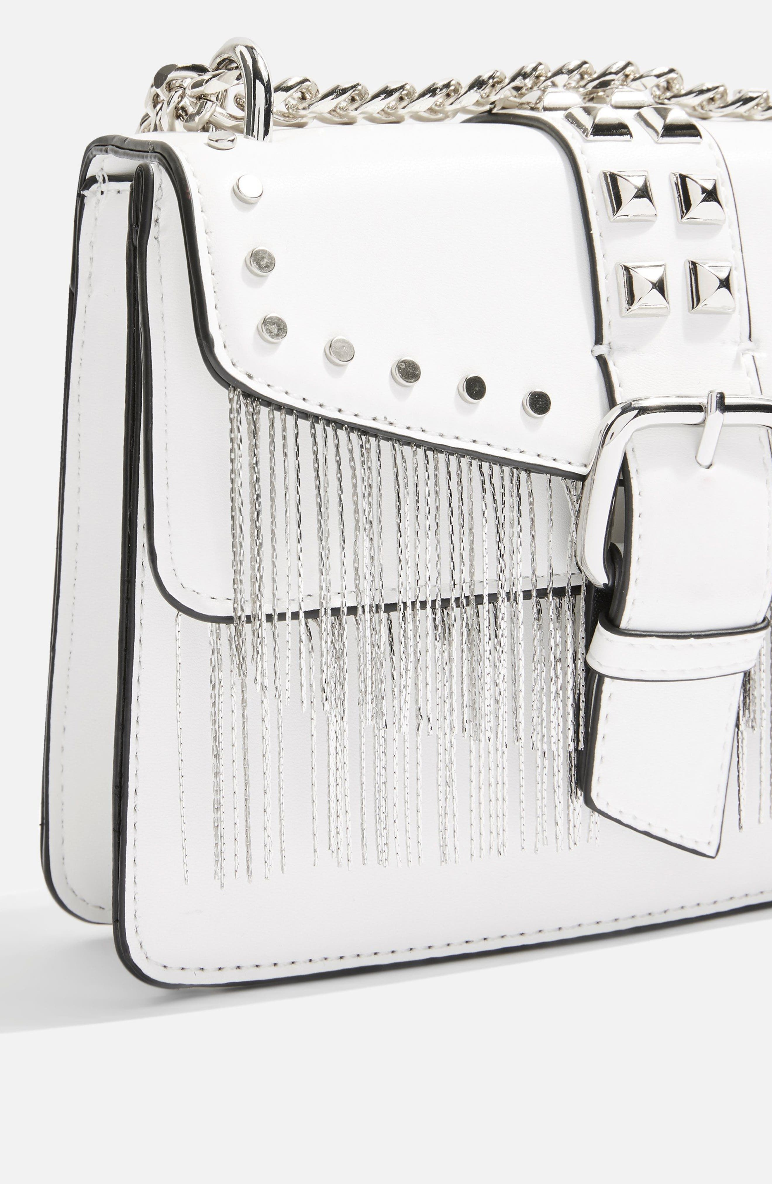 Shelby Studded Faux Leather Crossbody Bag,                             Alternate thumbnail 3, color,                             White
