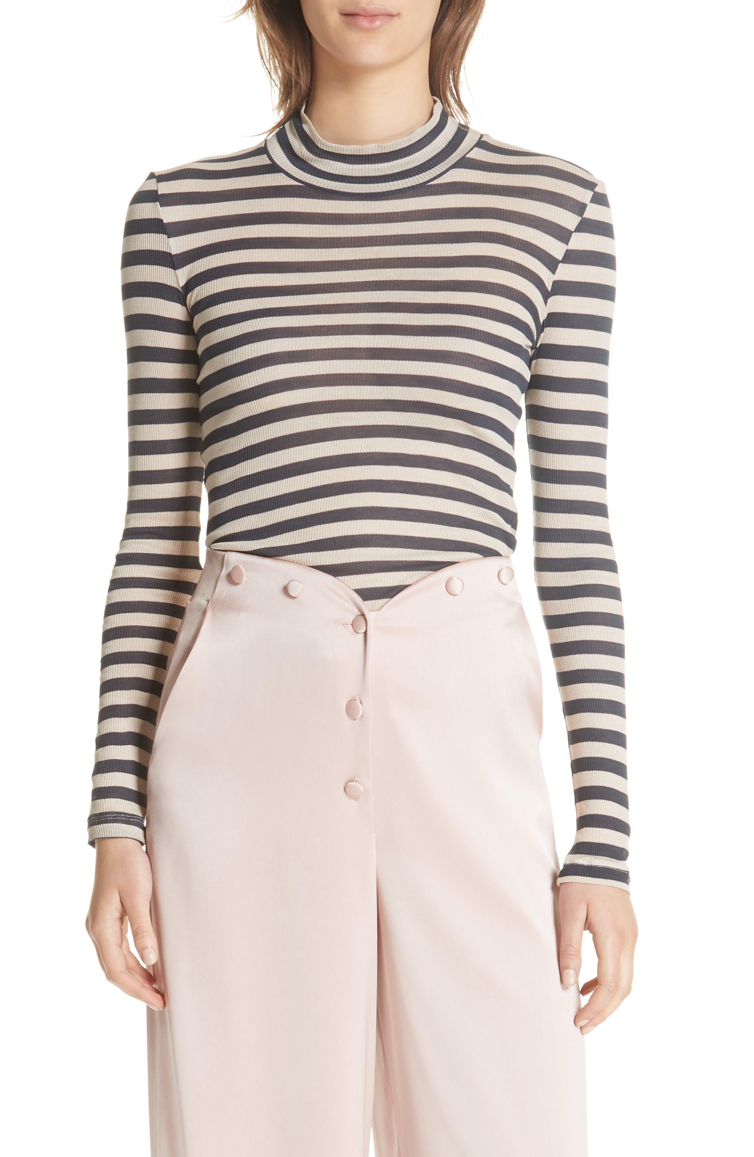 Alana Stripe Mock Neck Top,                         Main,                         color, Navy Stripe
