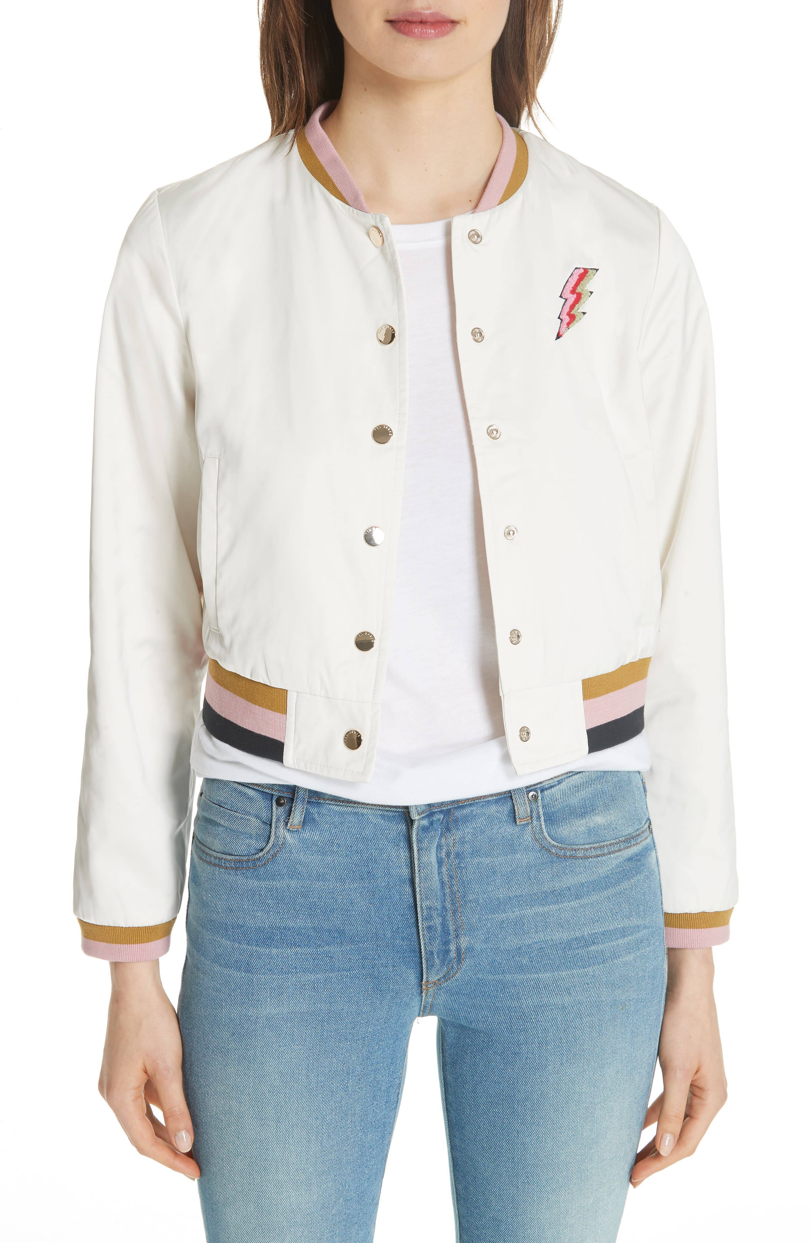 Colour by Numbers Bomber Jacket,                             Main thumbnail 1, color,                             Ivory