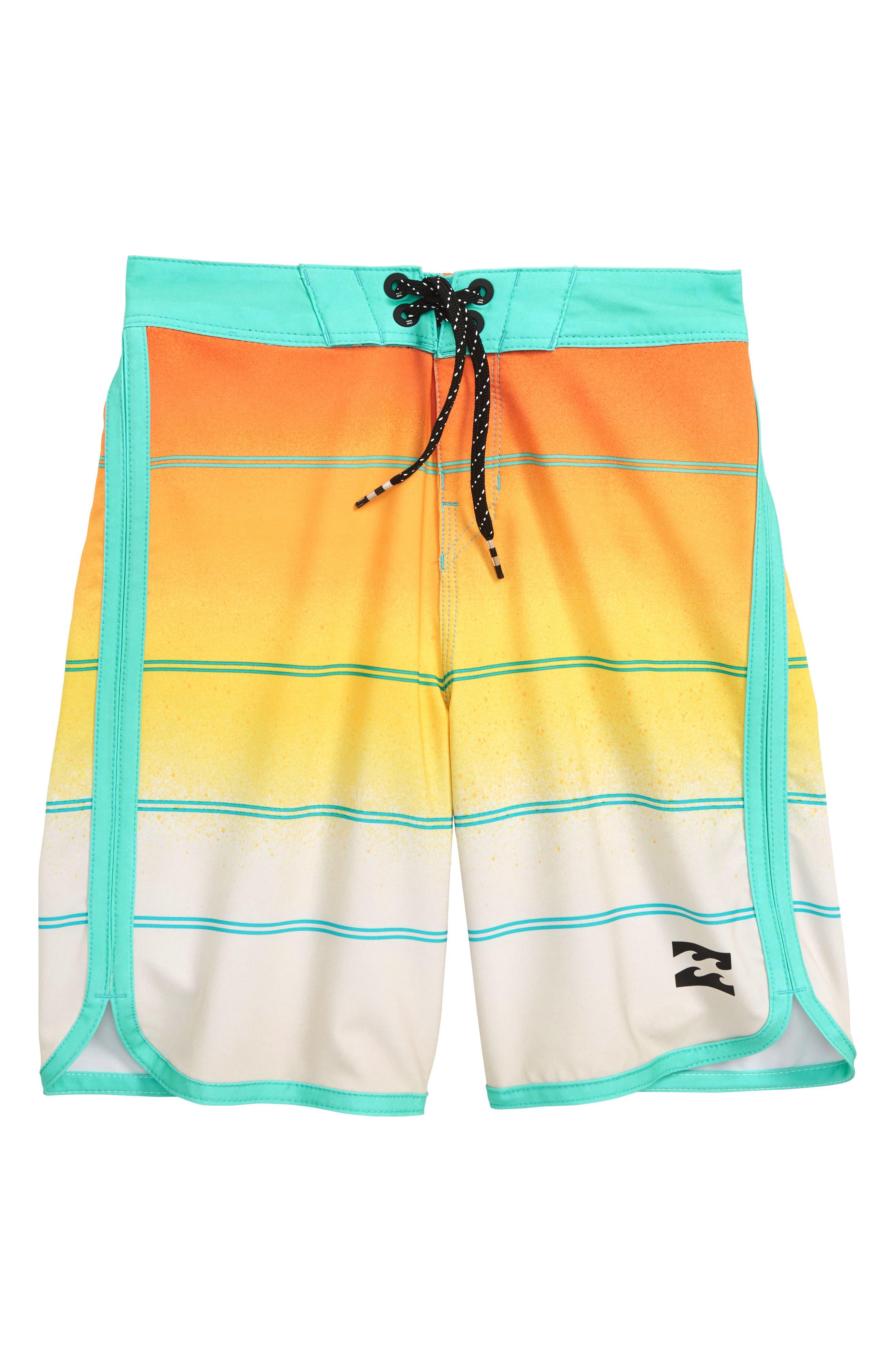 73 X Stripe Board Shorts,                         Main,                         color, Yellow