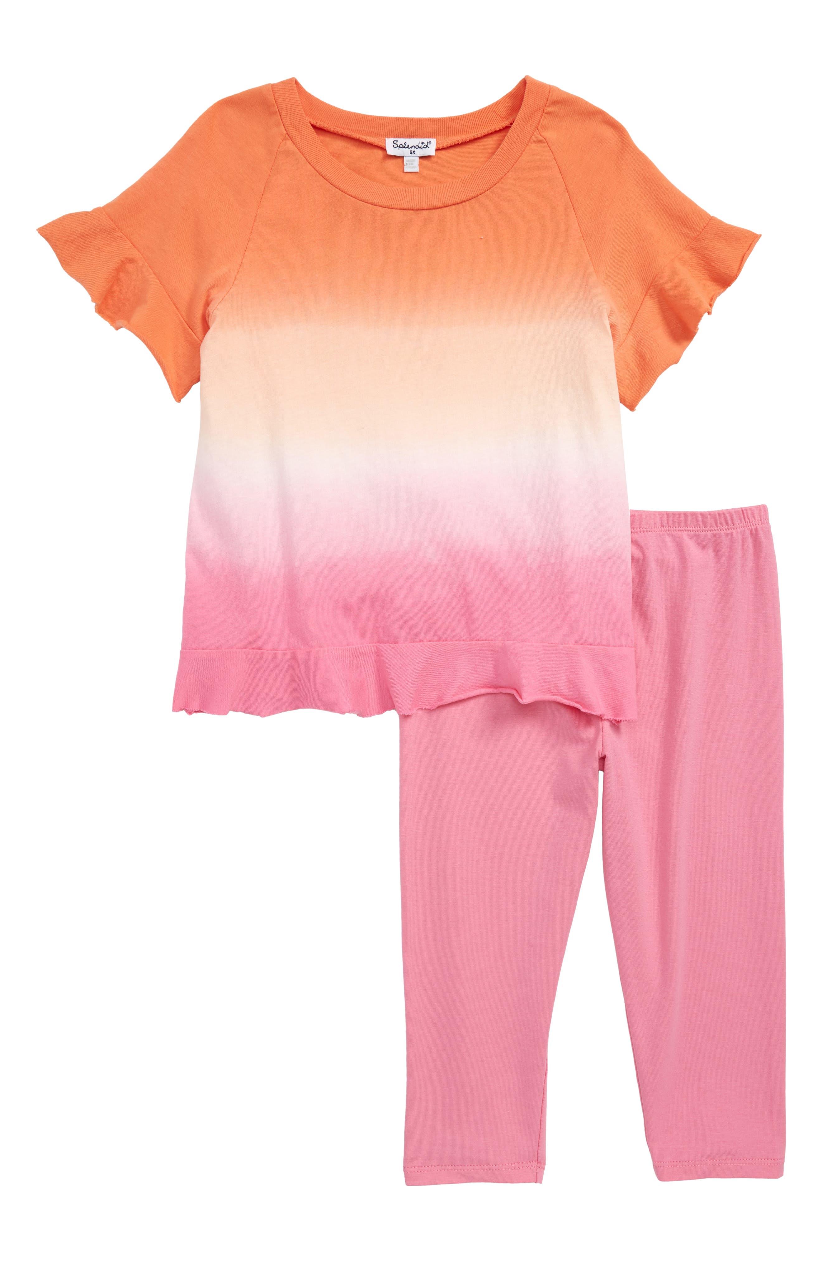 Splendid Dip Dye Tee & Leggings Set (Toddler Girls & Little Girls)