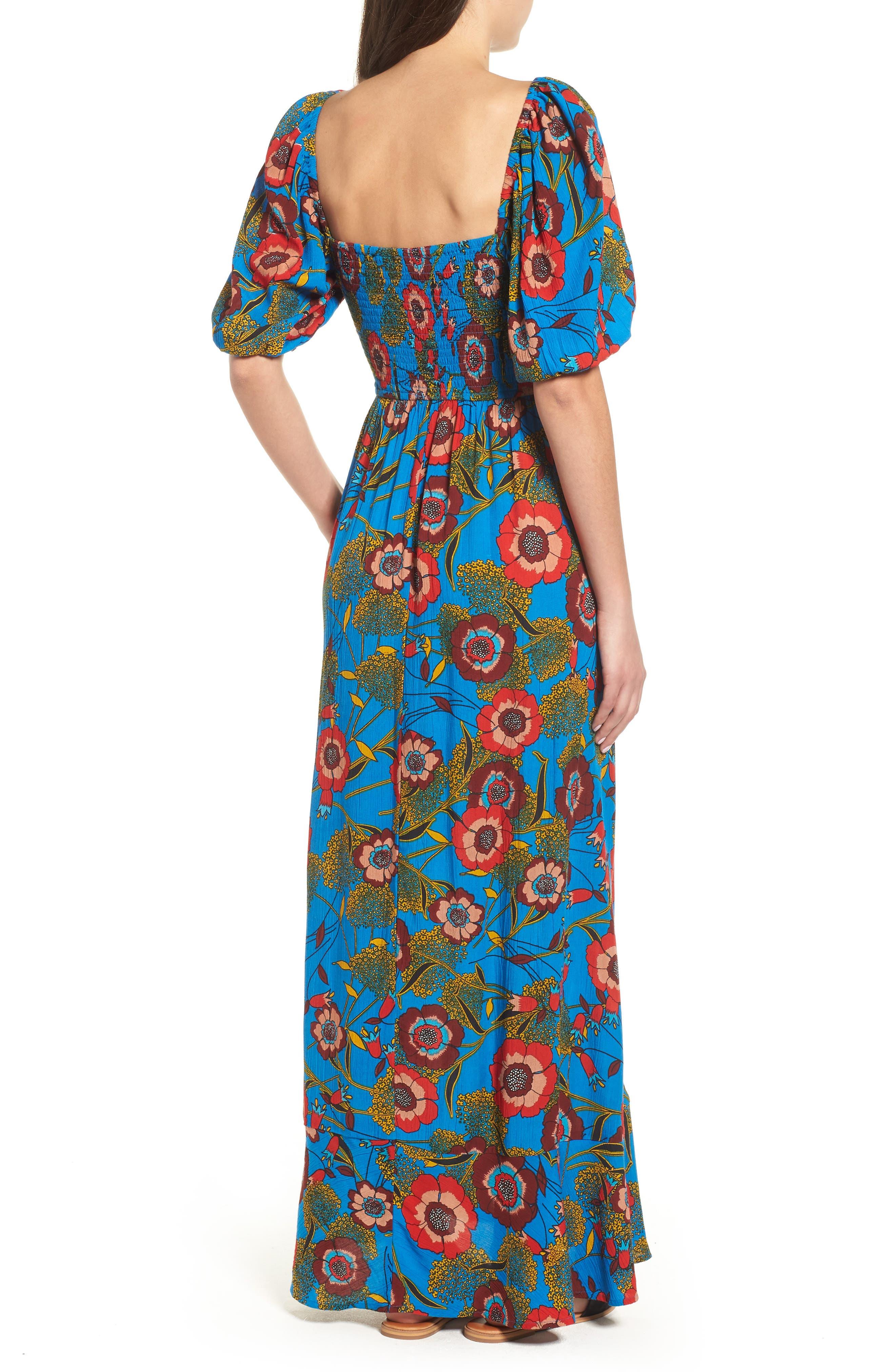 Heirloom Blossom Maxi Dress,                             Alternate thumbnail 2, color,                             Royal/ Blue/ Red