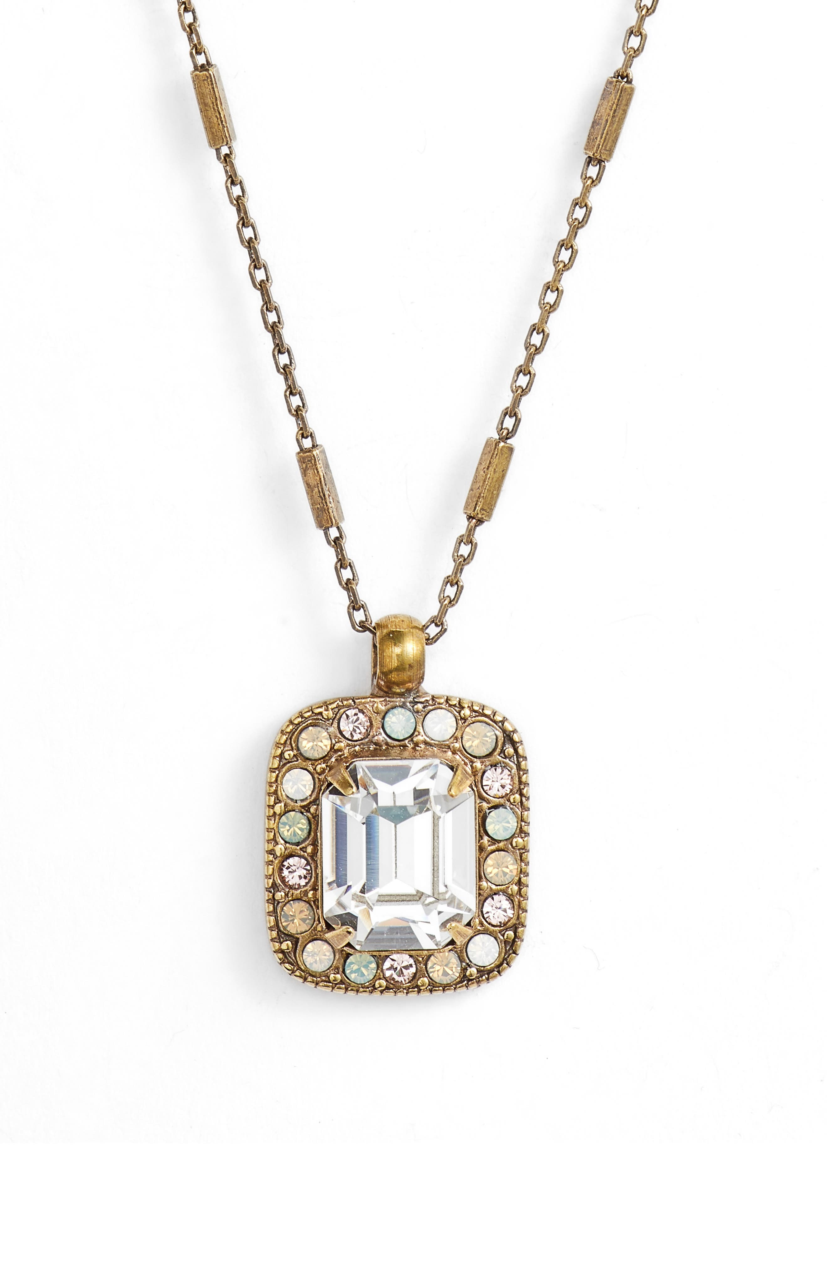 Opulent Octagon Crystal Pendant Necklace,                         Main,                         color, Clear