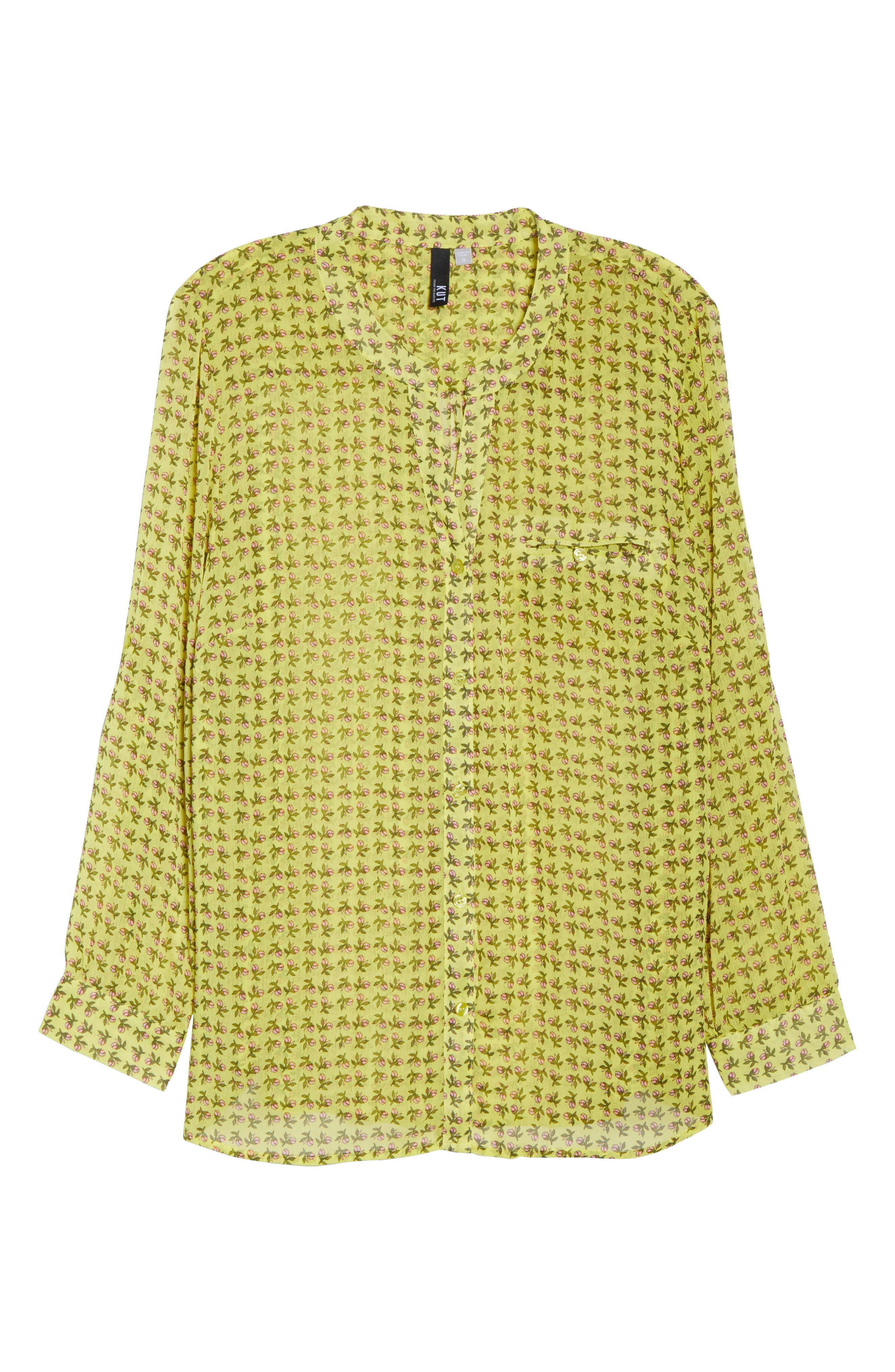 Jasmine Floral Roll Sleeve Top,                             Alternate thumbnail 7, color,                             Bright Yellow