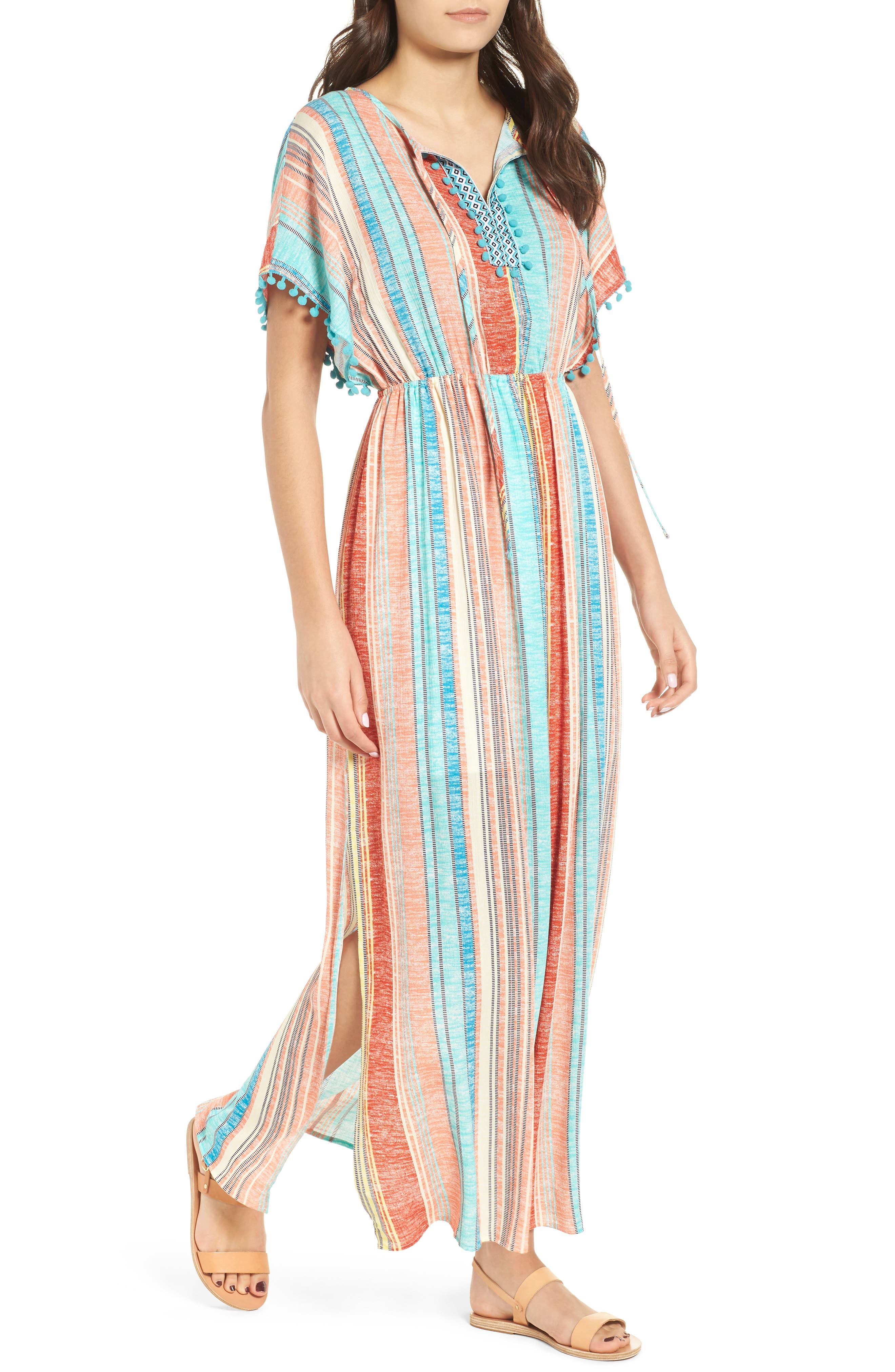 Stripe Pompom Trim Caftan,                         Main,                         color, Coral Stripe