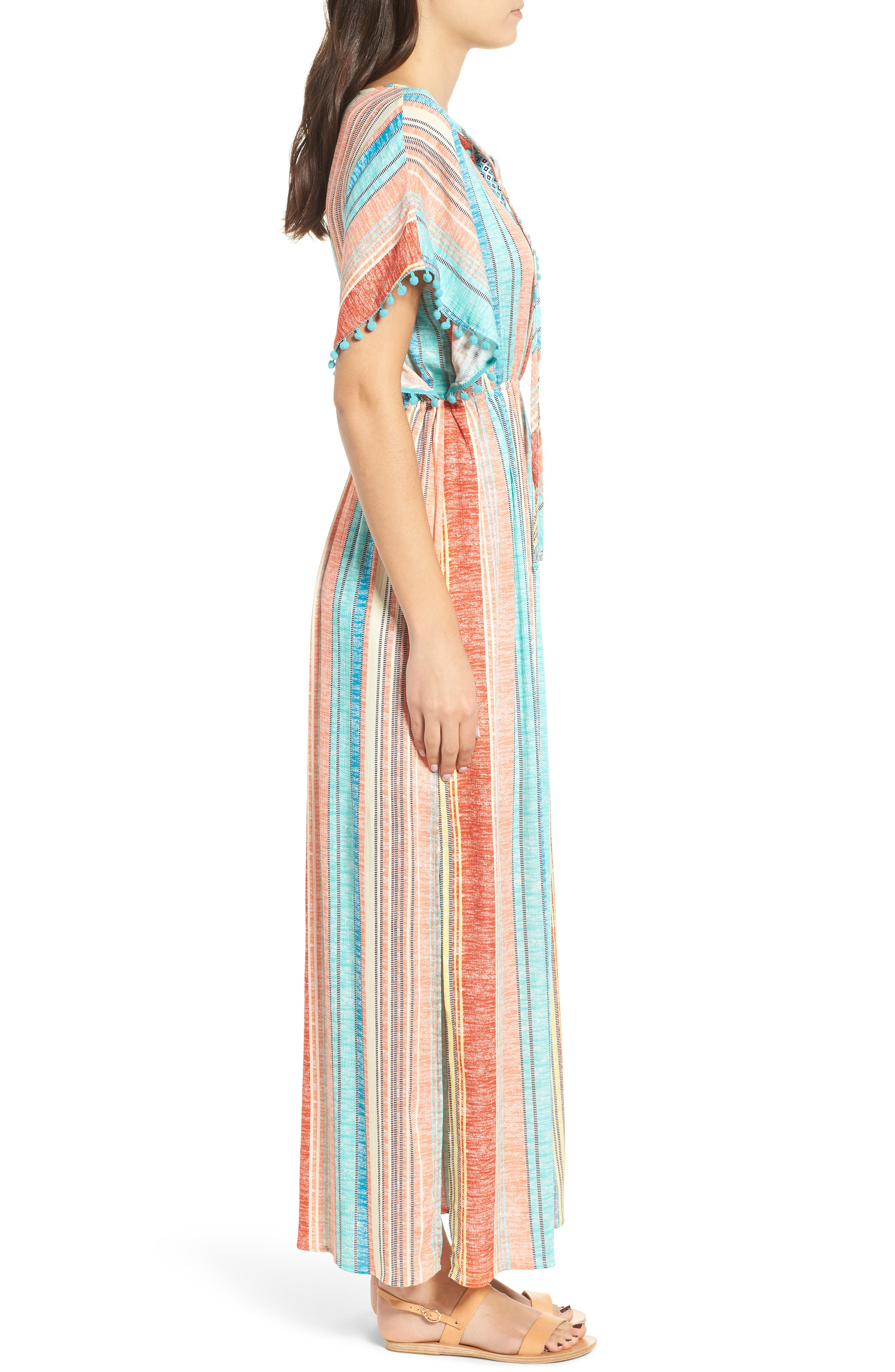 Stripe Pompom Trim Caftan,                             Alternate thumbnail 3, color,                             Coral Stripe