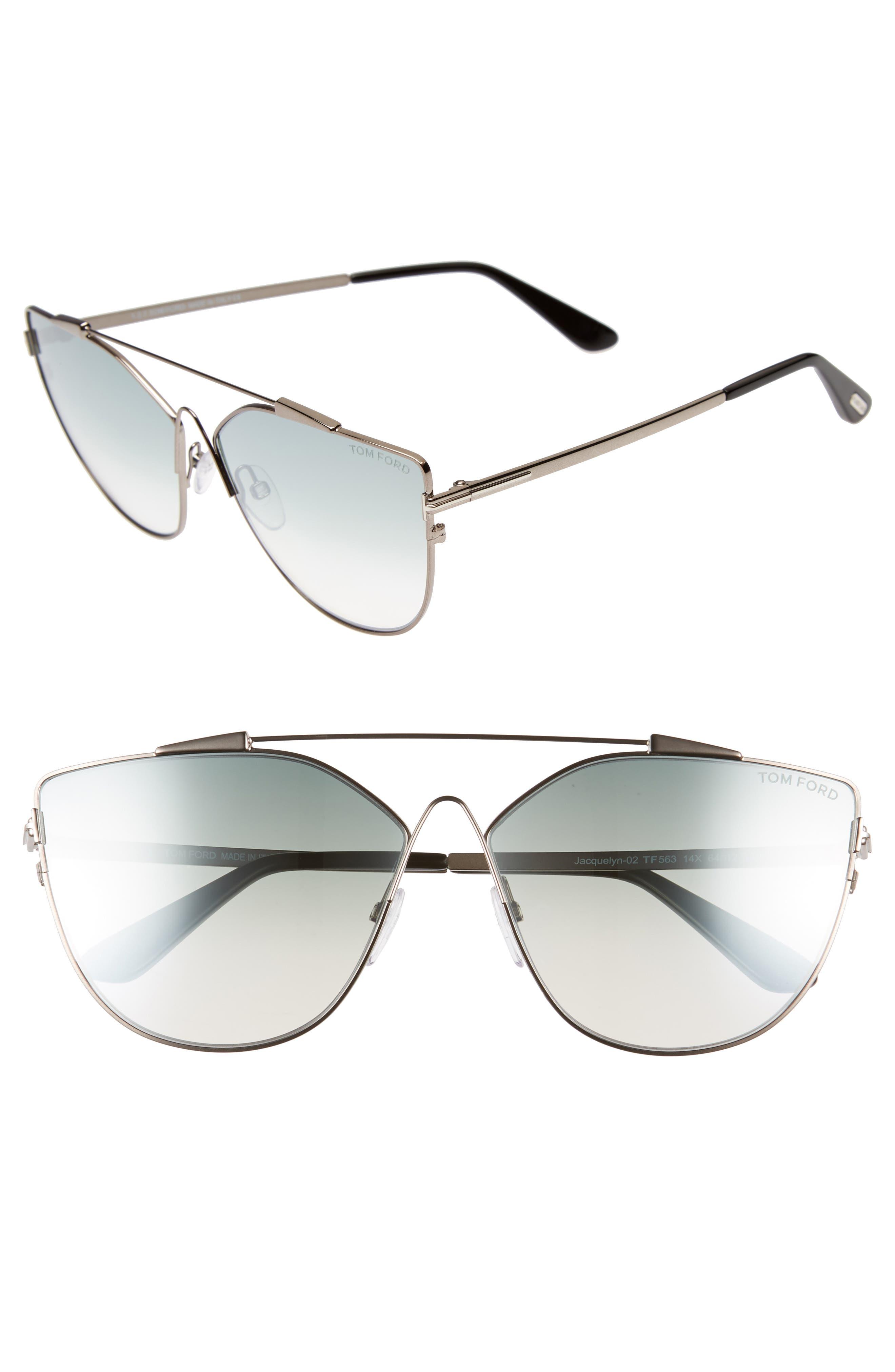 Jacquelyn 64mm Cat Eye Sunglasses,                         Main,                         color, Light Ruthenium/ Blue Mirror