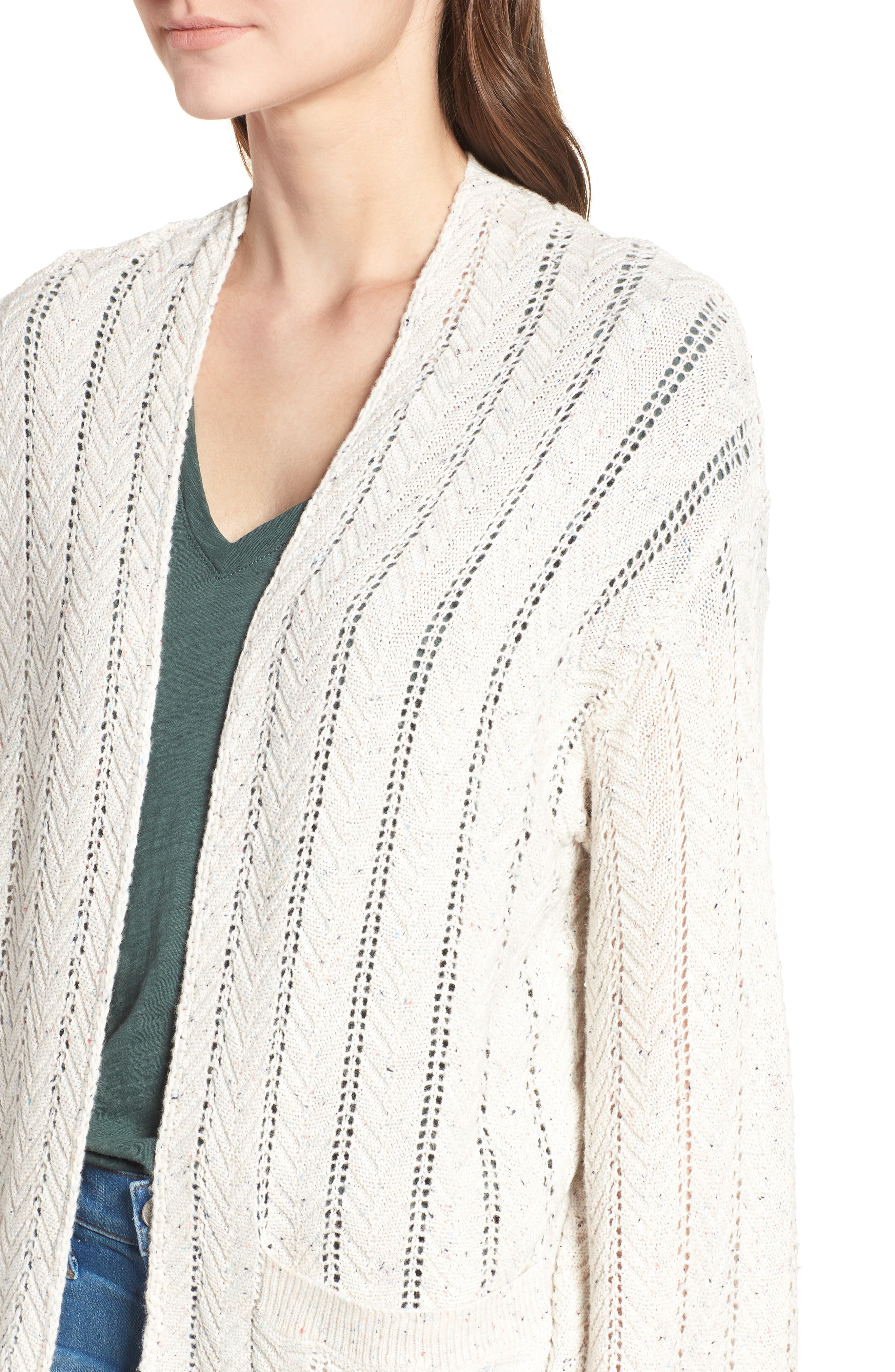 Long Tweed Herringbone Stitch Cardigan,                             Alternate thumbnail 4, color,                             Beige Oatmeal Heather