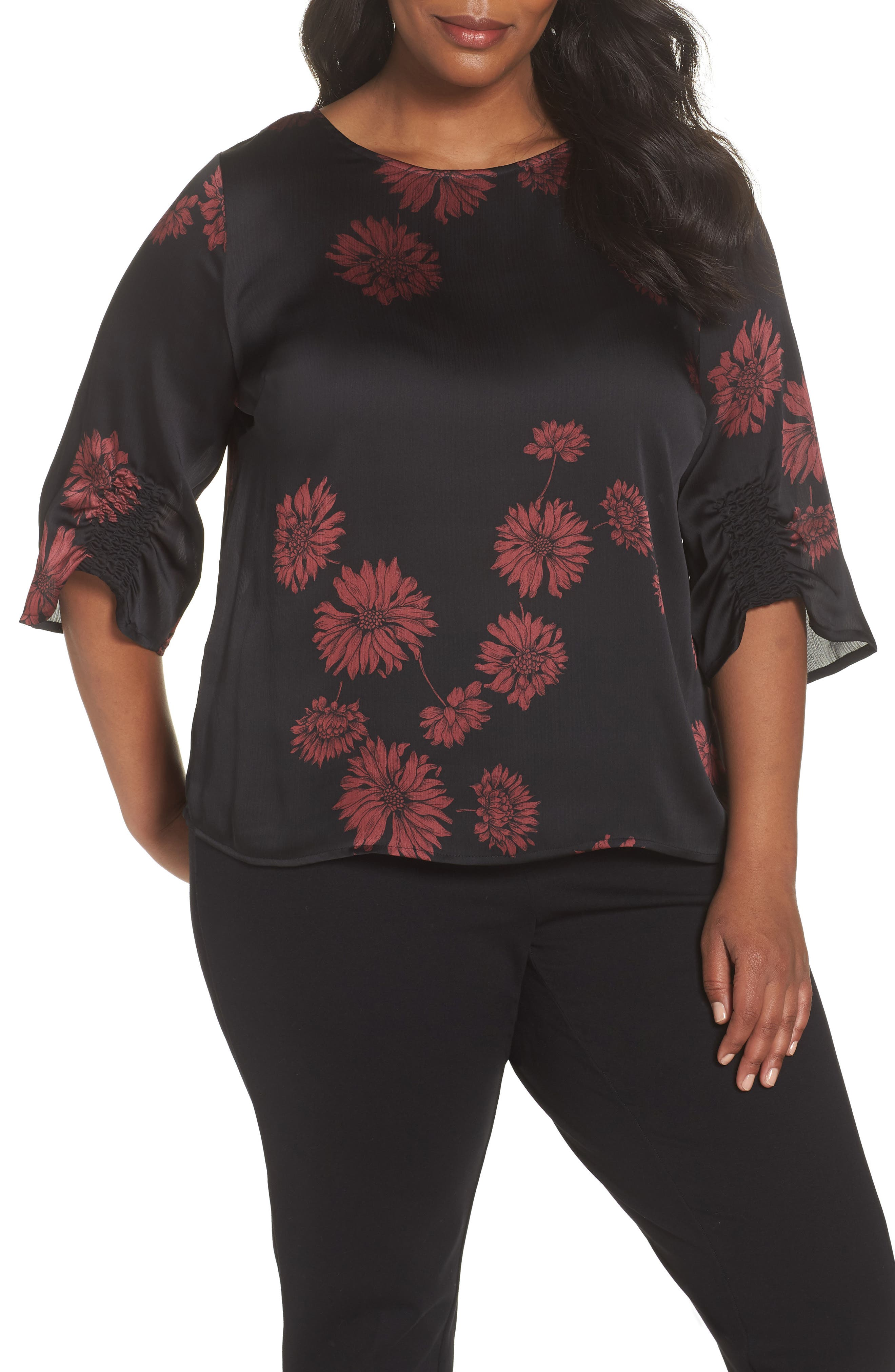 Chateau Floral Print Top,                             Main thumbnail 1, color,                             Rich Black