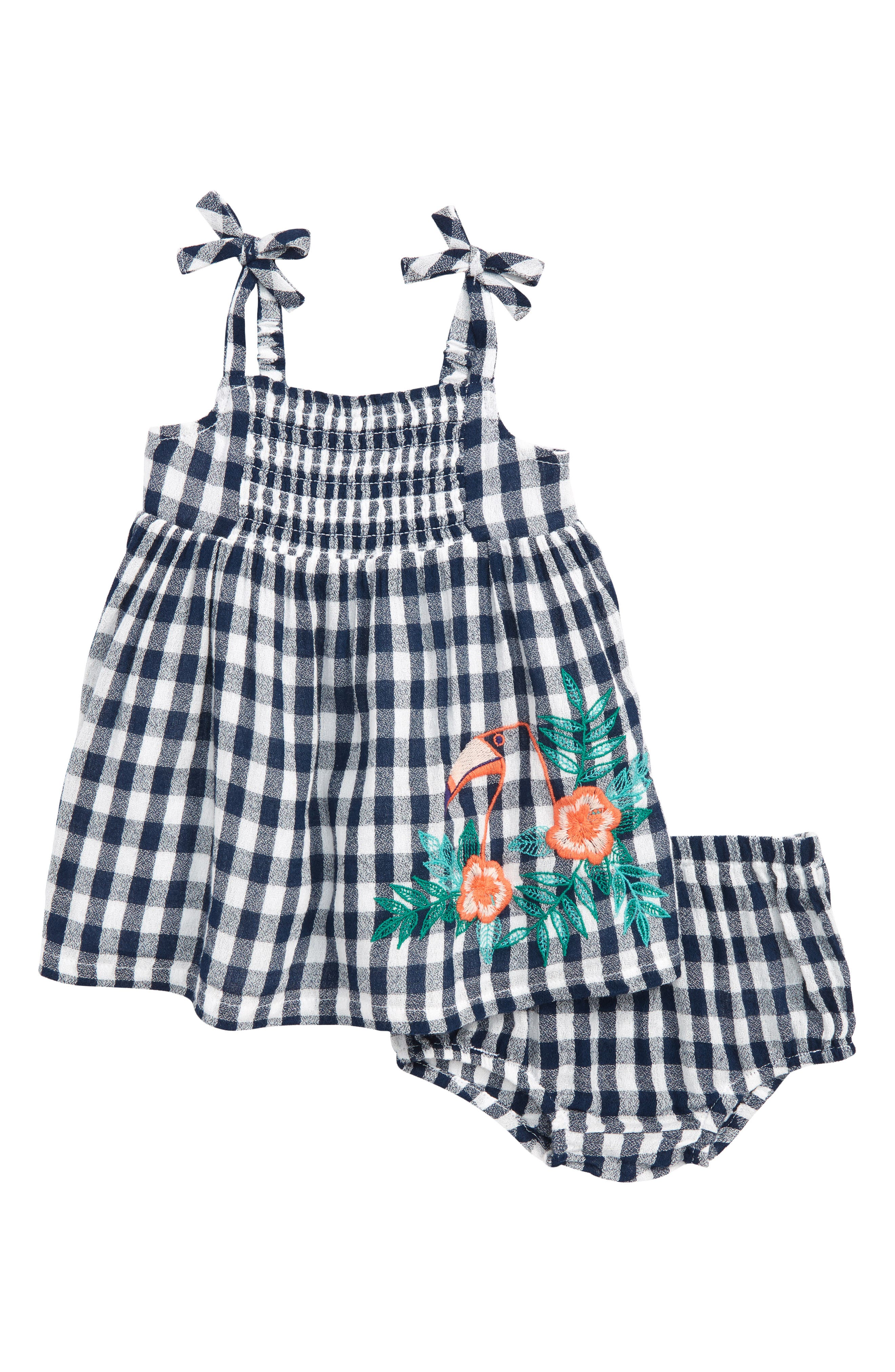 Smocked Gingham Dress,                         Main,                         color, Navy Armada - White Gingham