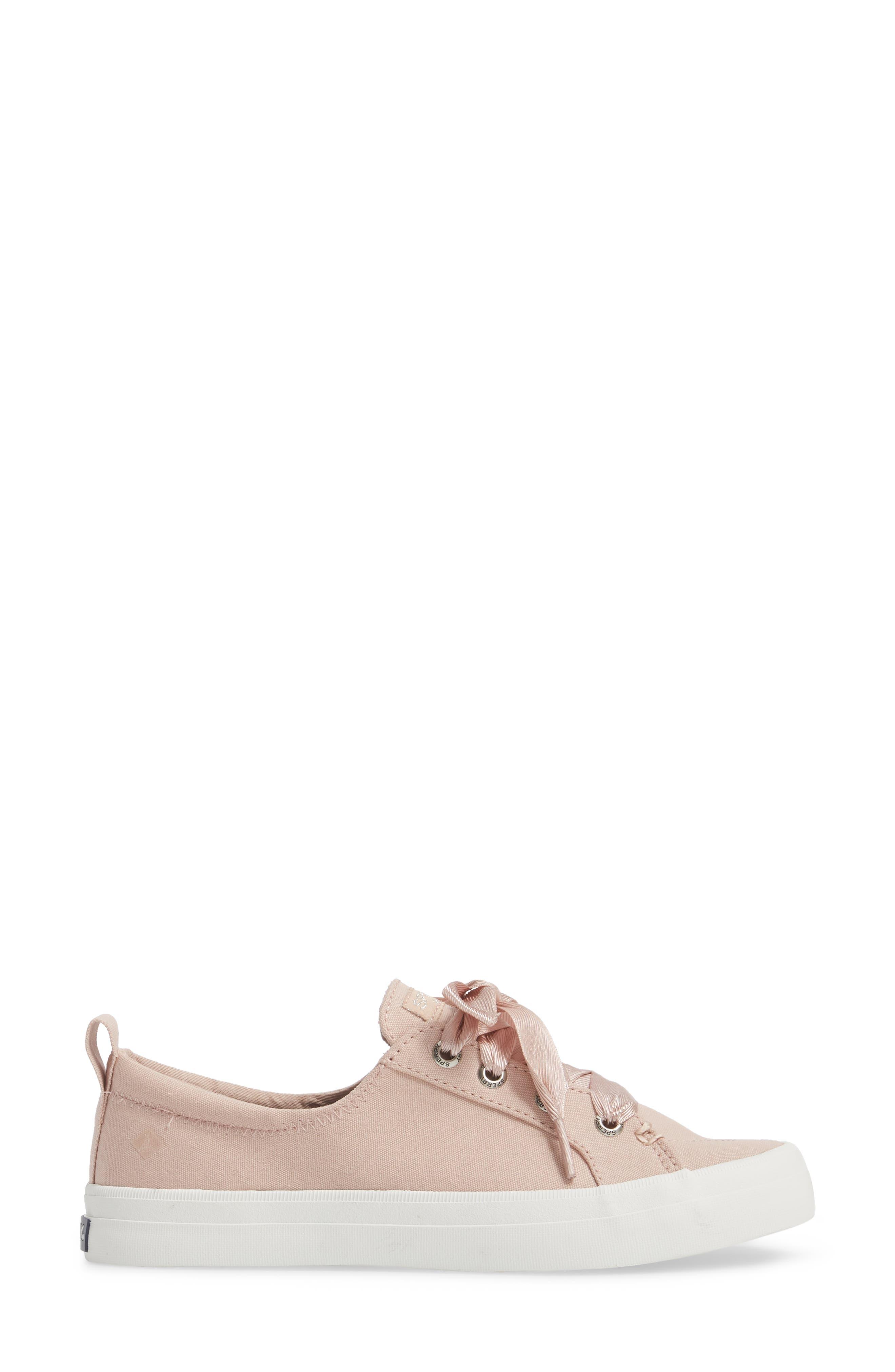 Crest Vibe Satin Lace Sneaker,                             Alternate thumbnail 3, color,                             Rose Dust Canvas