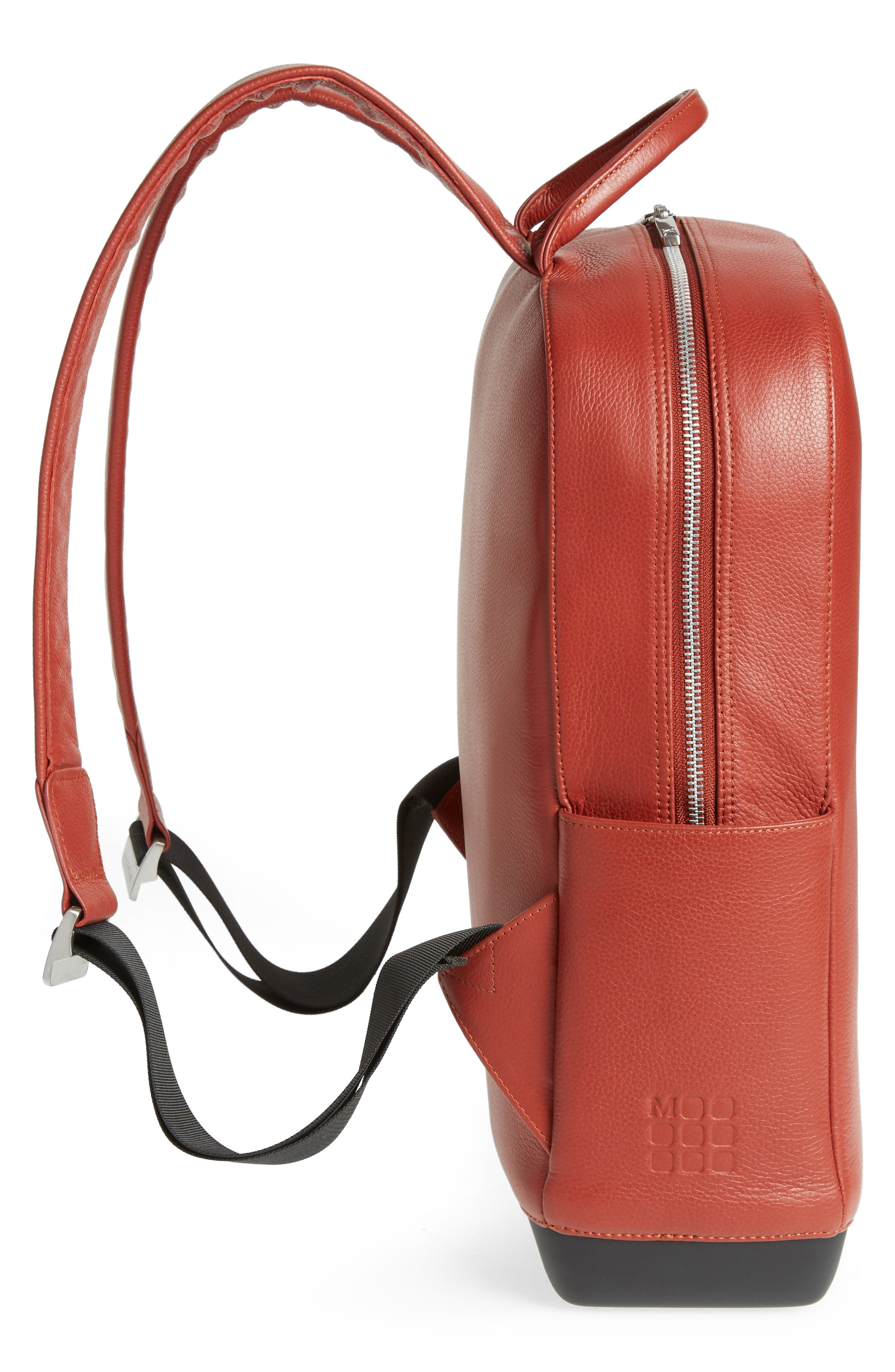 Leather Backpack,                             Alternate thumbnail 5, color,                             Terrace Red