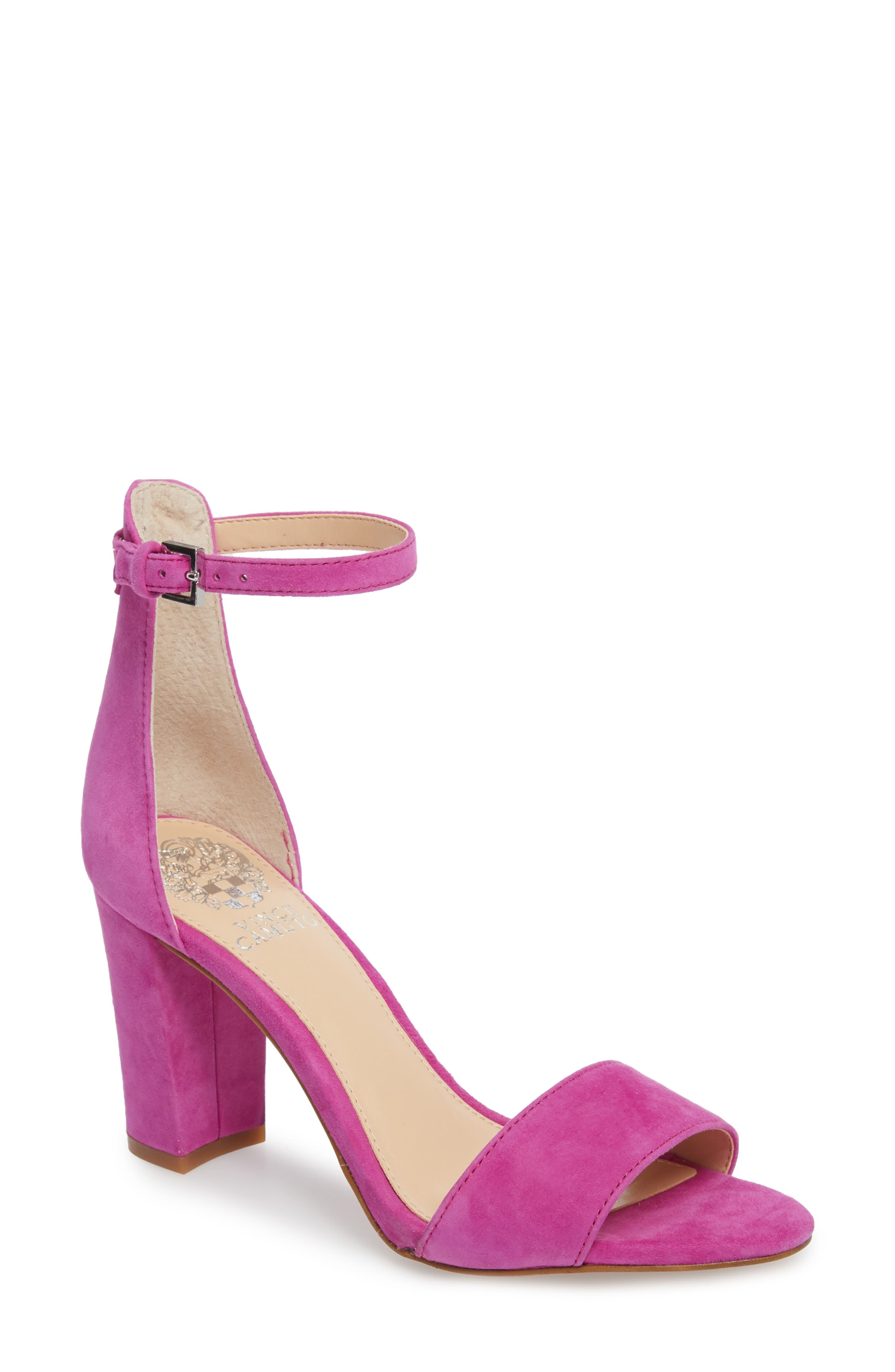 Corlina Ankle Strap Sandal,                             Main thumbnail 1, color,                             Drama Pink Suede