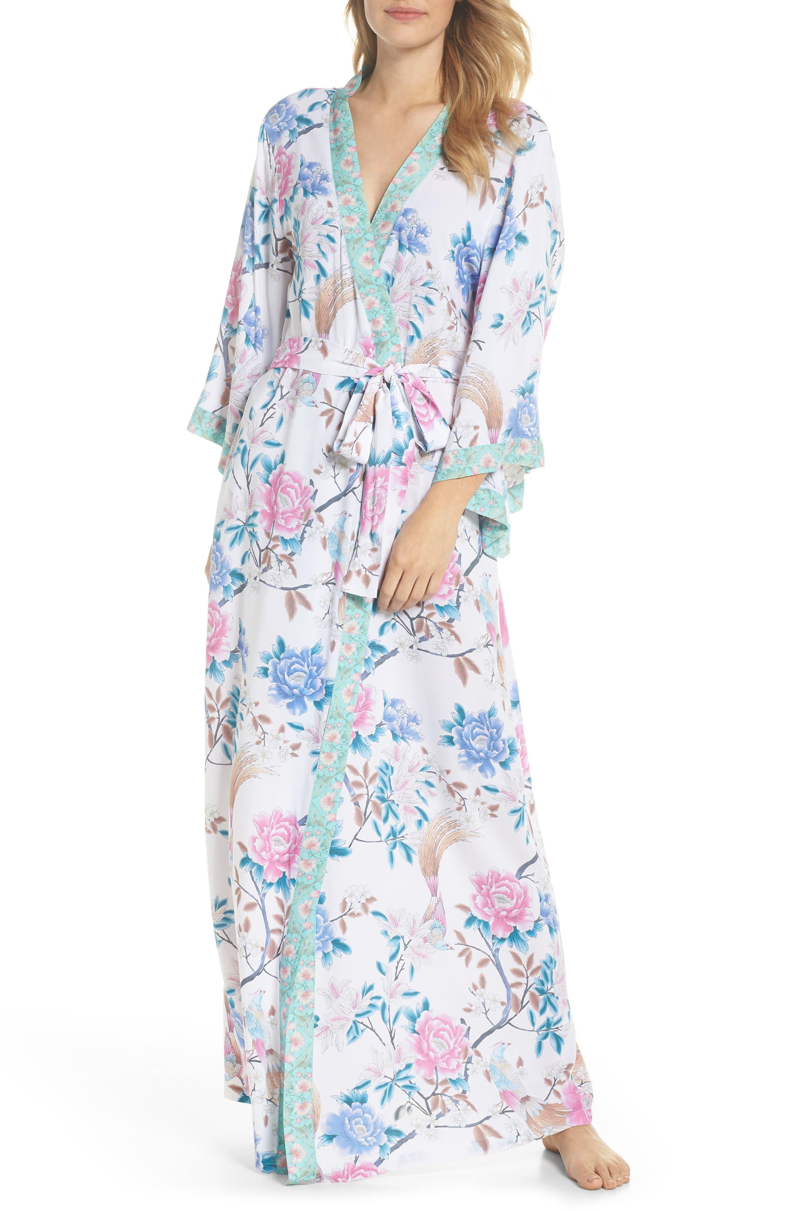 Talulah Boho Long Robe,                             Main thumbnail 1, color,                             Ivory Floral