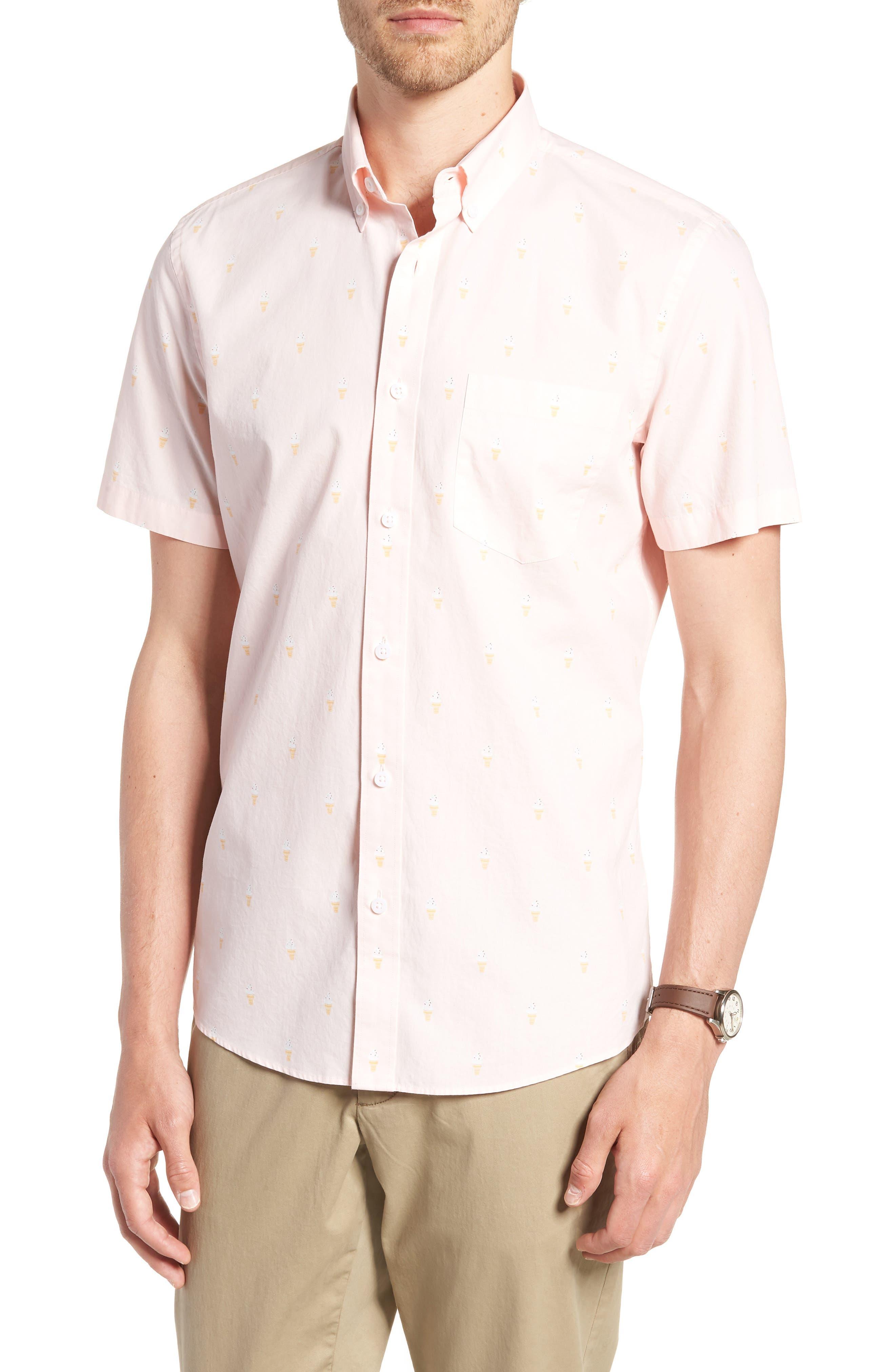 Trim Fit Print Short Sleeve Sport Shirt,                         Main,                         color, Pink Breathe Ice Cream Cones