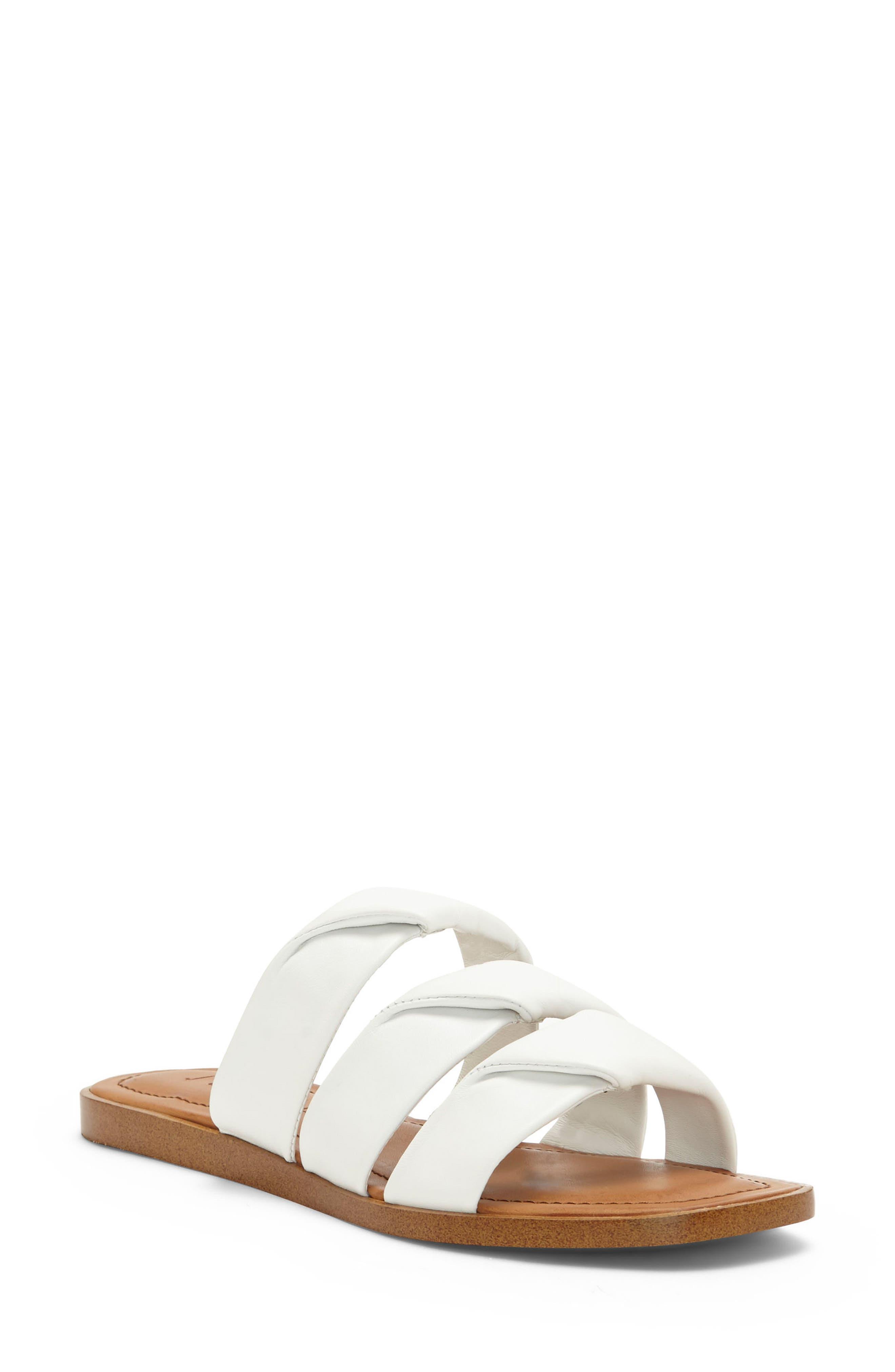 Frel Slide Sandal,                         Main,                         color, White Leather