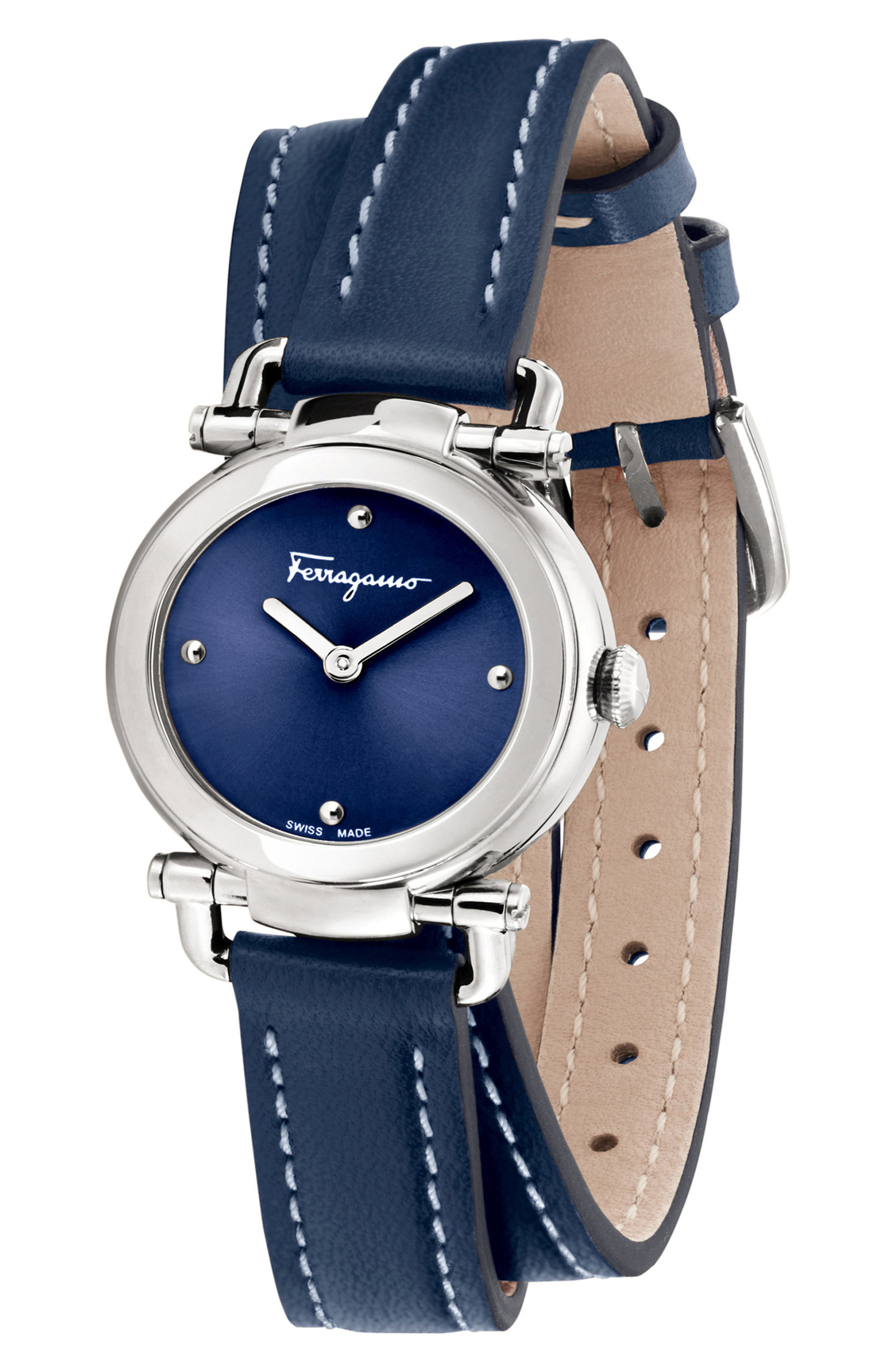 Gancino Leather Strap Watch, 26mm,                             Alternate thumbnail 4, color,                             Blue/ Silver