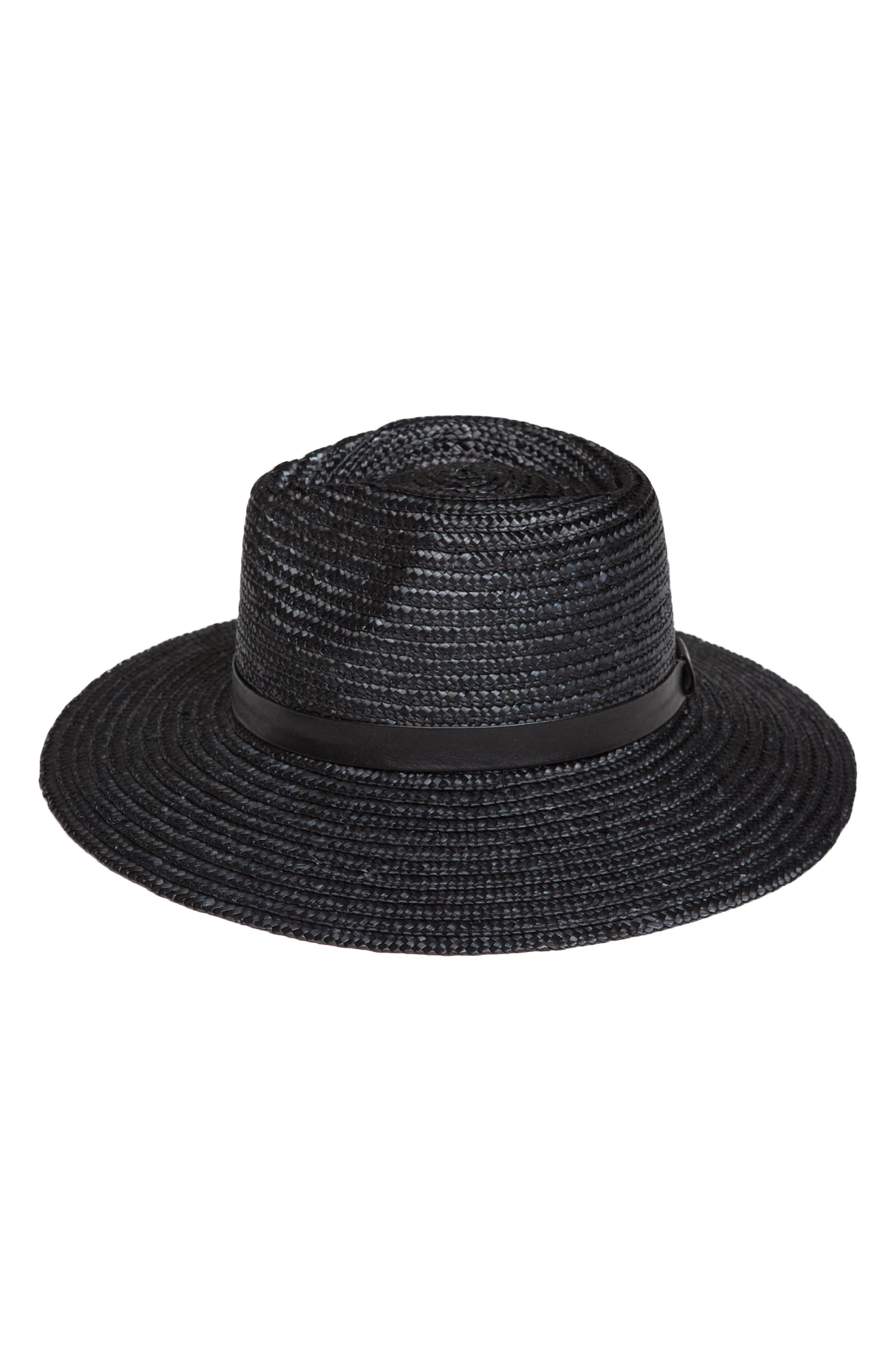 Don't Look Back Straw Hat,                         Main,                         color, Black