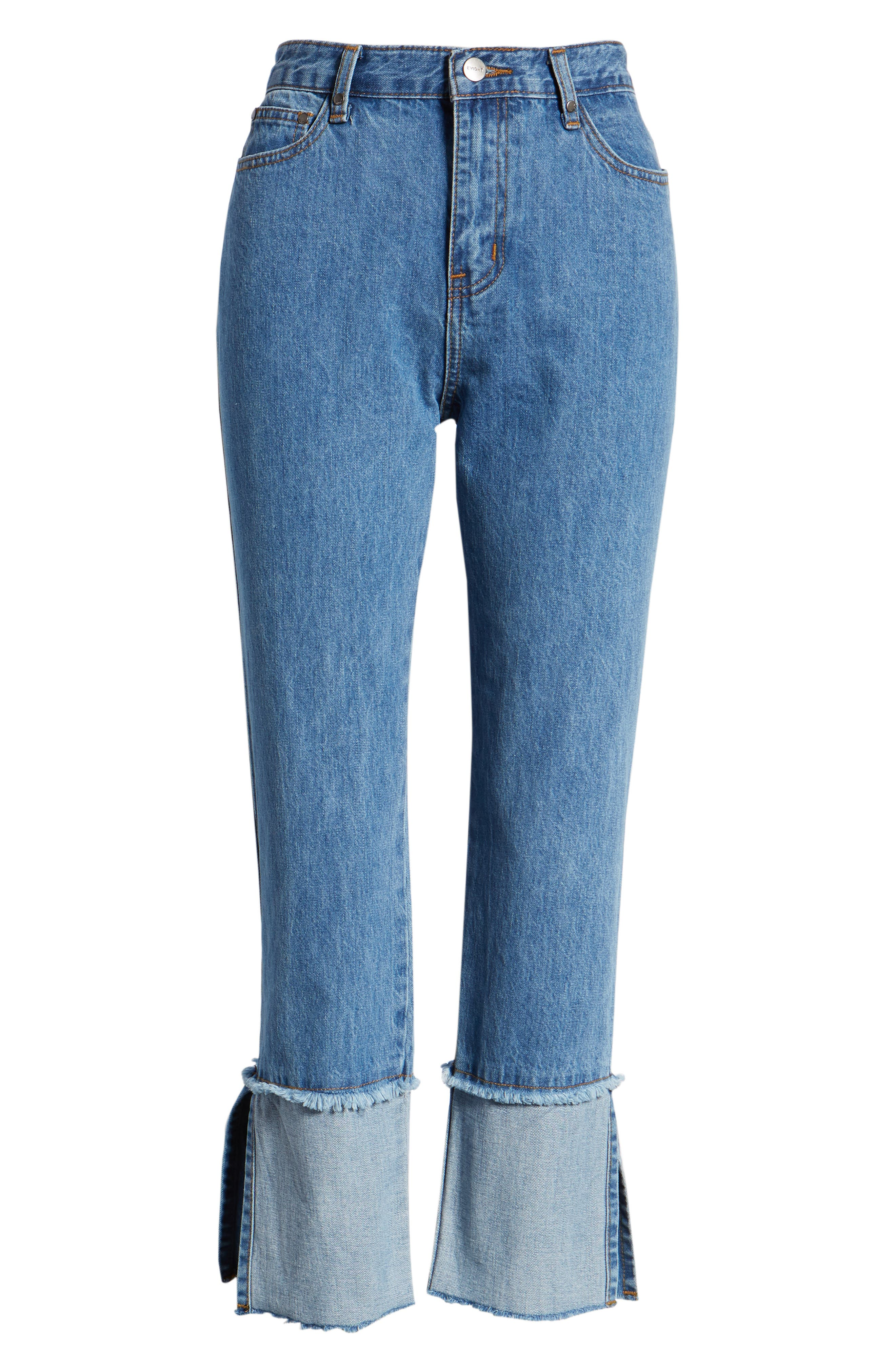 Cuffed Raw Hem Crop Jeans,                             Alternate thumbnail 7, color,                             Fairfax