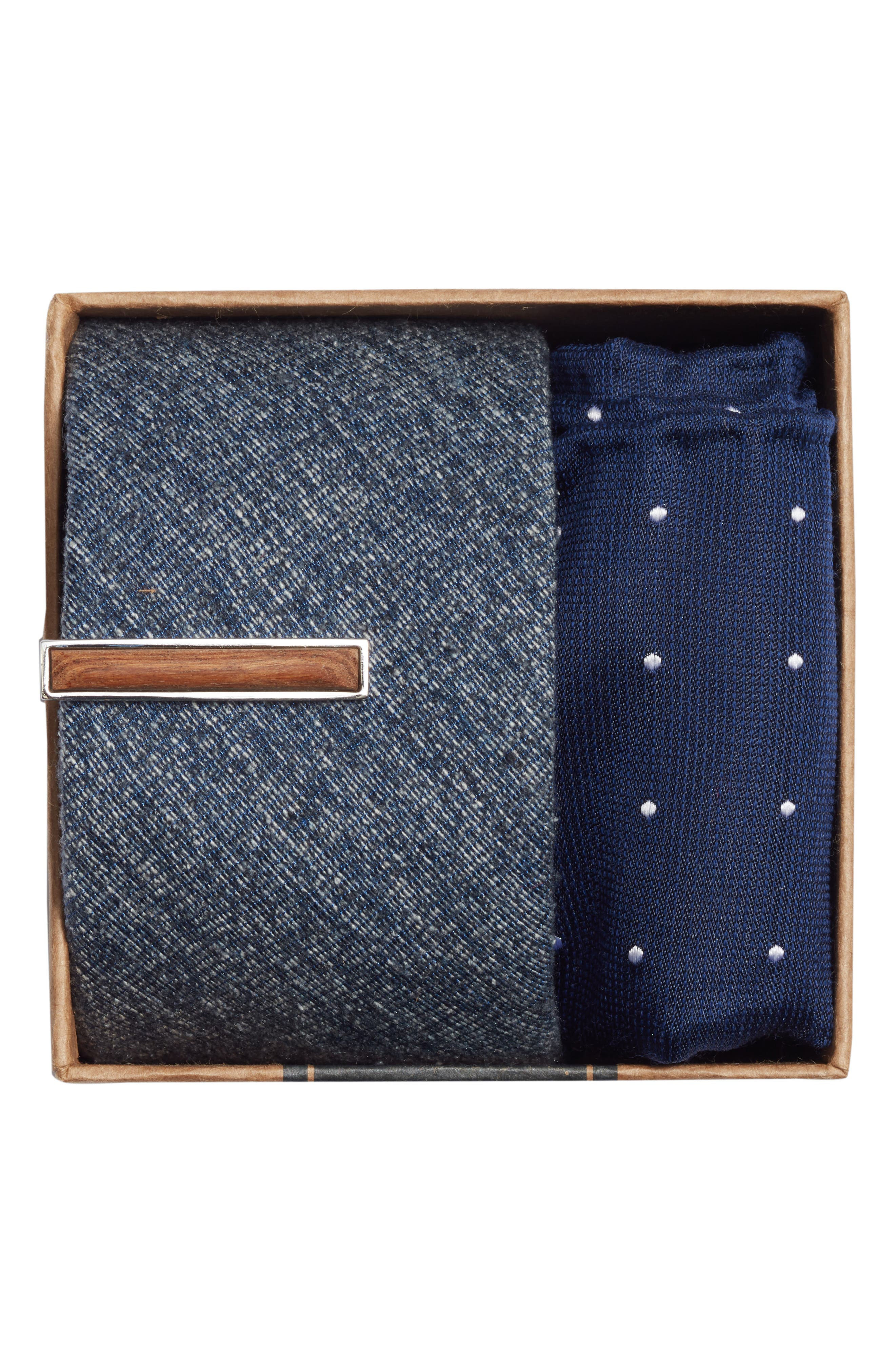 West Ridge Solid 3-Piece Skinny Tie Style Box,                             Alternate thumbnail 2, color,                             Navy