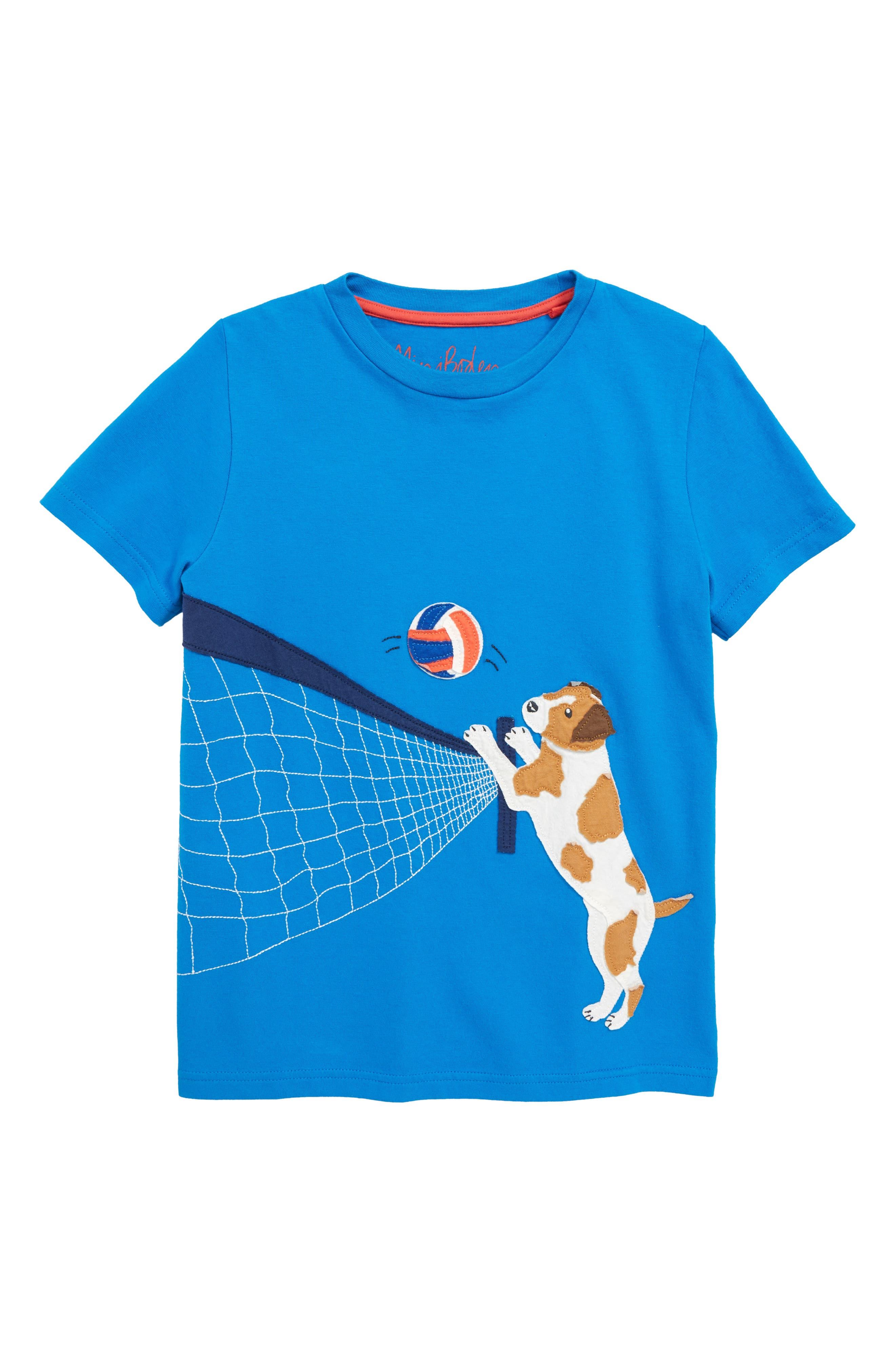 Beach Sports Appliqué T-Shirt,                         Main,                         color, Yogo Blue Volleyball