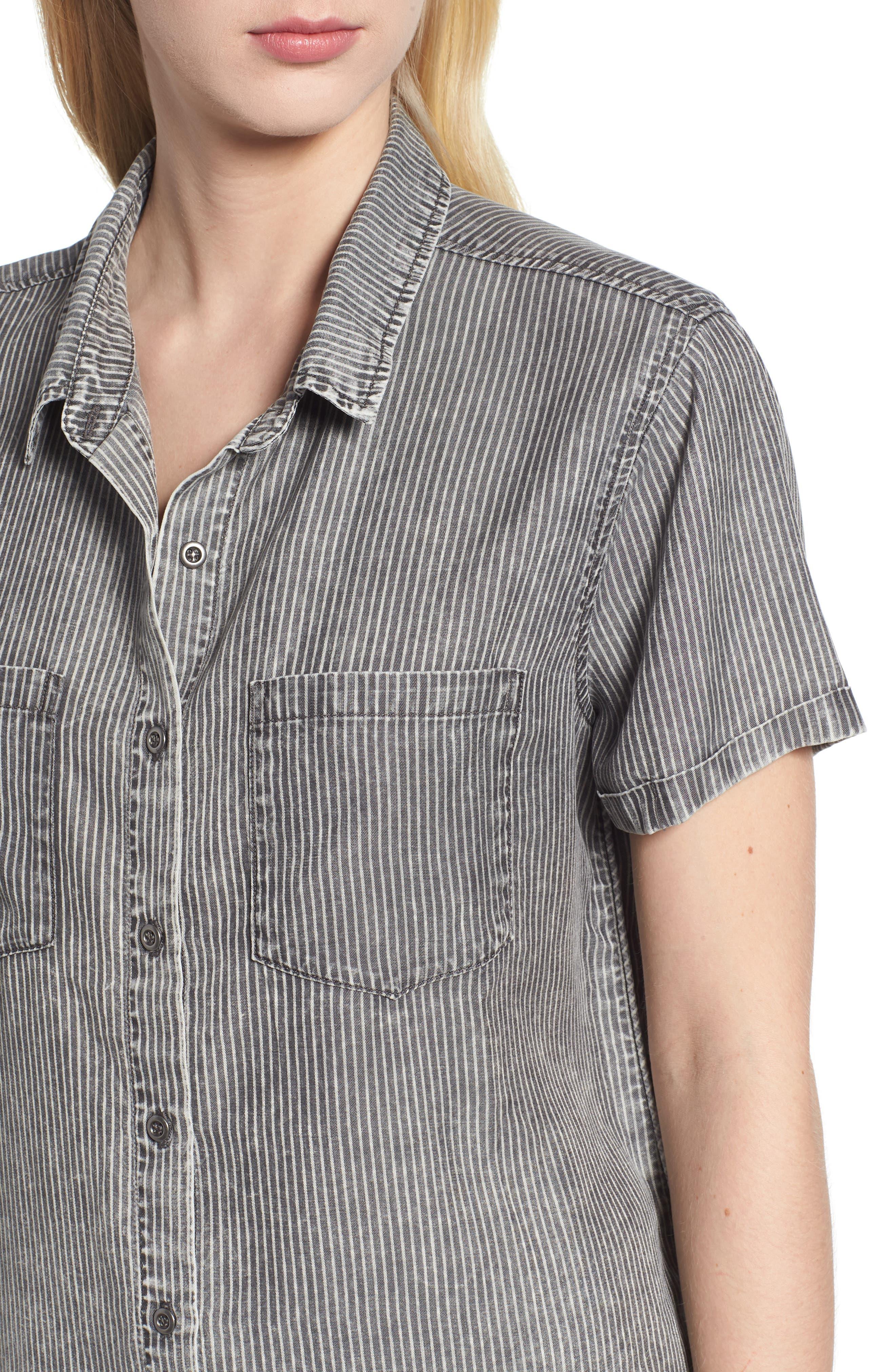 Ticking Stripe Shirt,                             Alternate thumbnail 4, color,                             Grey Rr