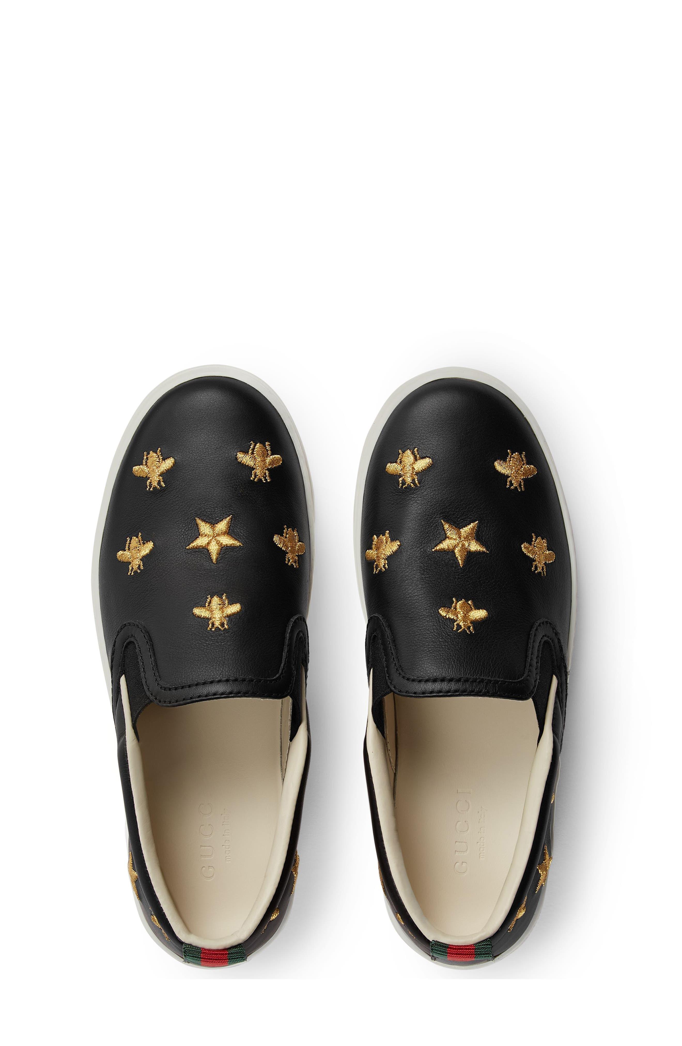 Dublin Bees and Stars Slip-On Sneaker,                             Alternate thumbnail 4, color,                             Black/Gold Stars