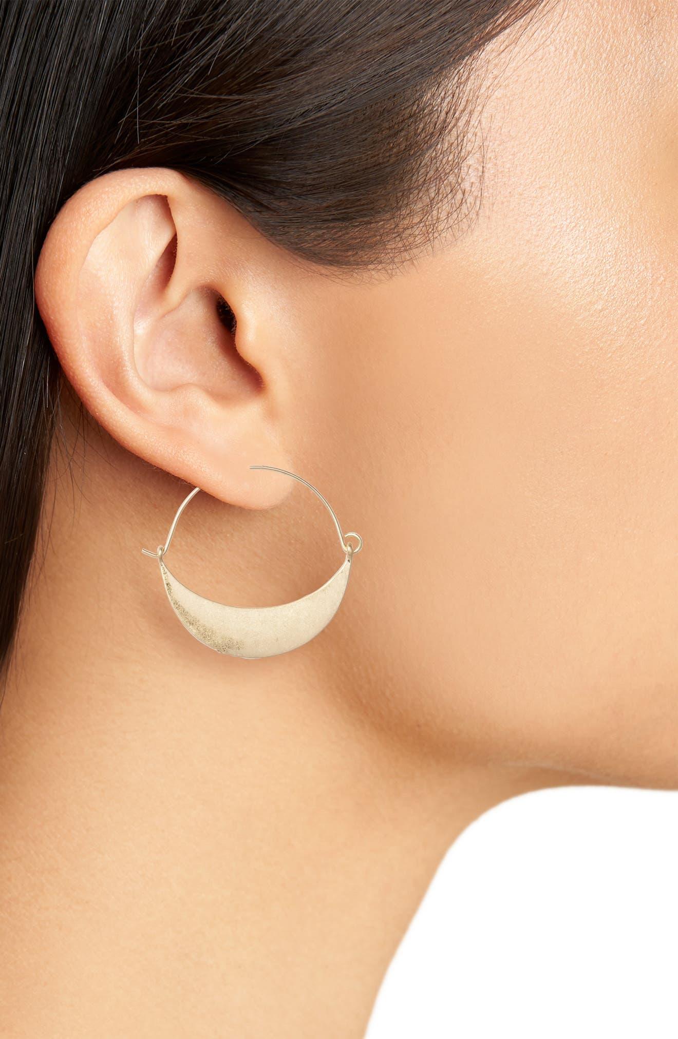 Crescent Metal Hoop Earrings,                             Alternate thumbnail 2, color,                             Gold