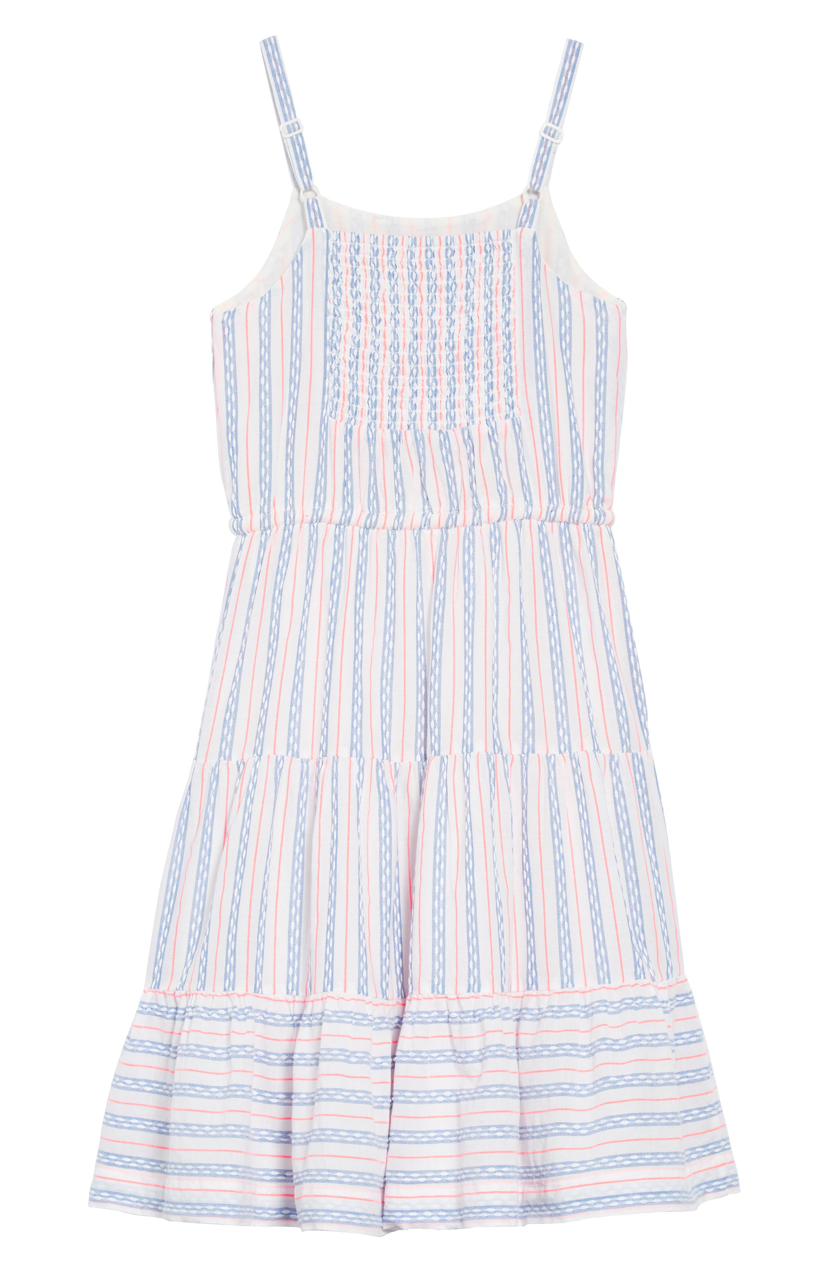 Tiered Strappy Woven Dress,                             Alternate thumbnail 2, color,                             Textured Blue And White Stripe