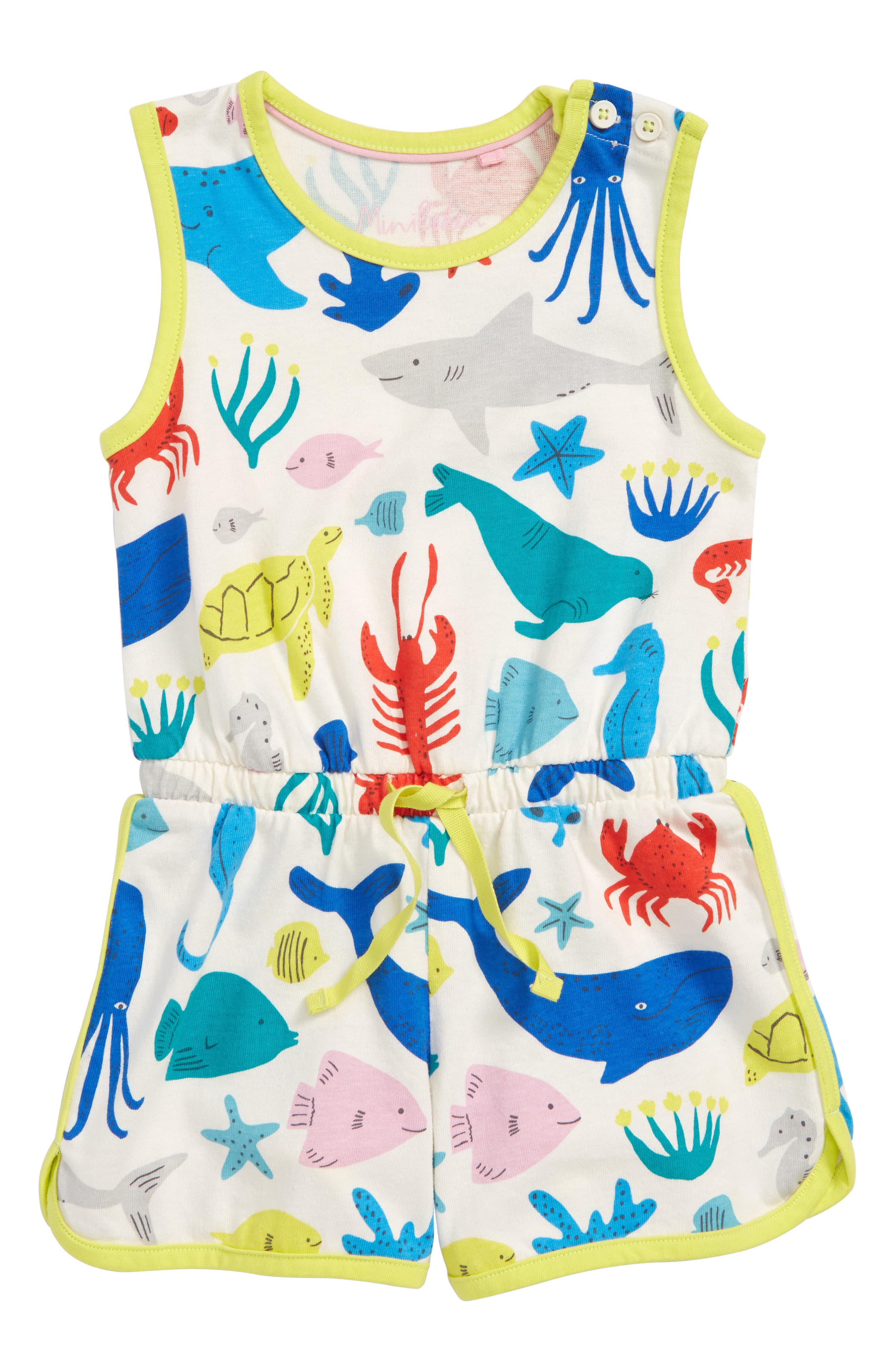 Retro Jersey Romper,                             Main thumbnail 1, color,                             Ivory Under The Sea