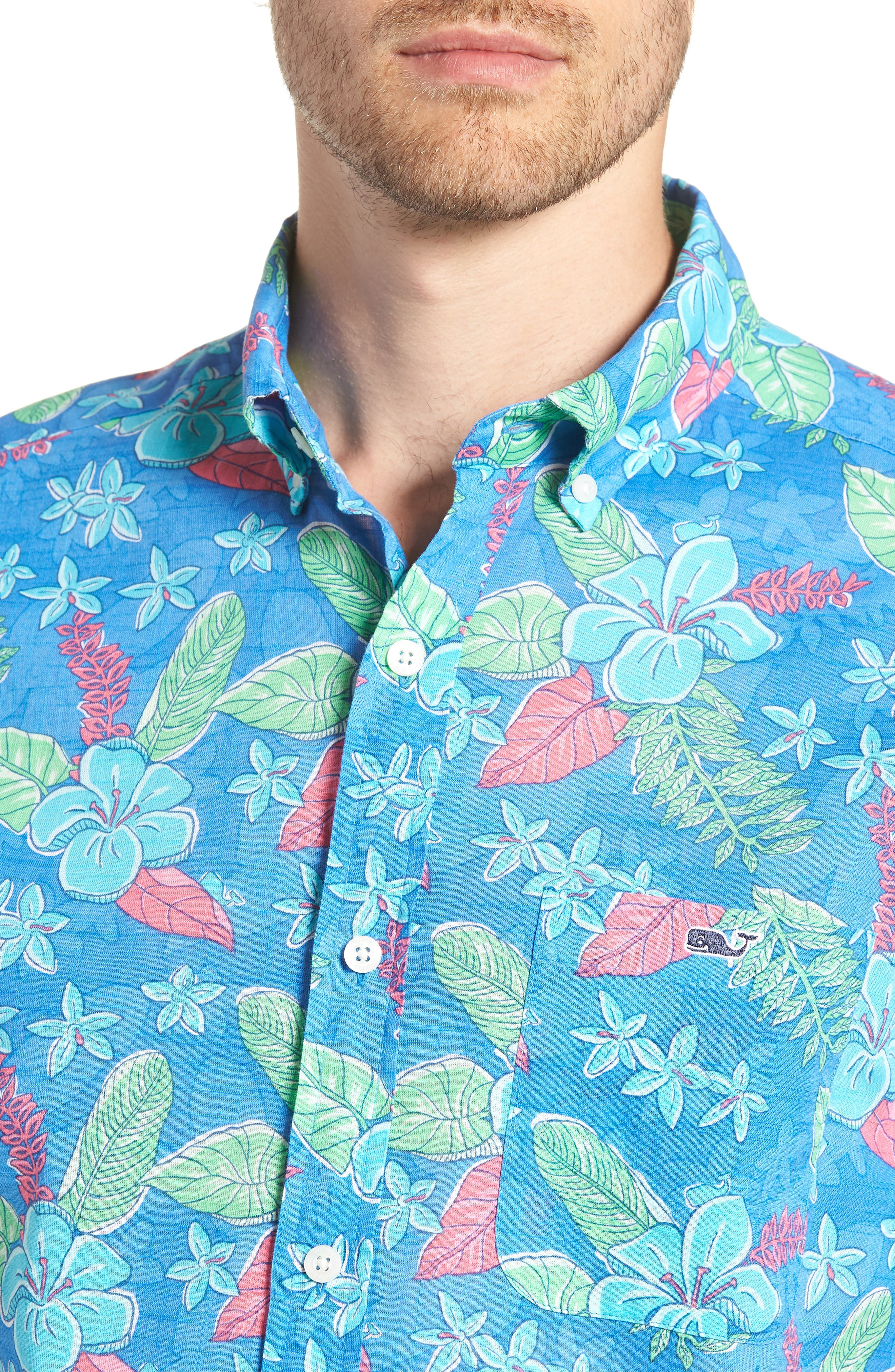 Cay Tucker Classic Fit Floral Sport Shirt,                             Alternate thumbnail 2, color,                             Hull Blue