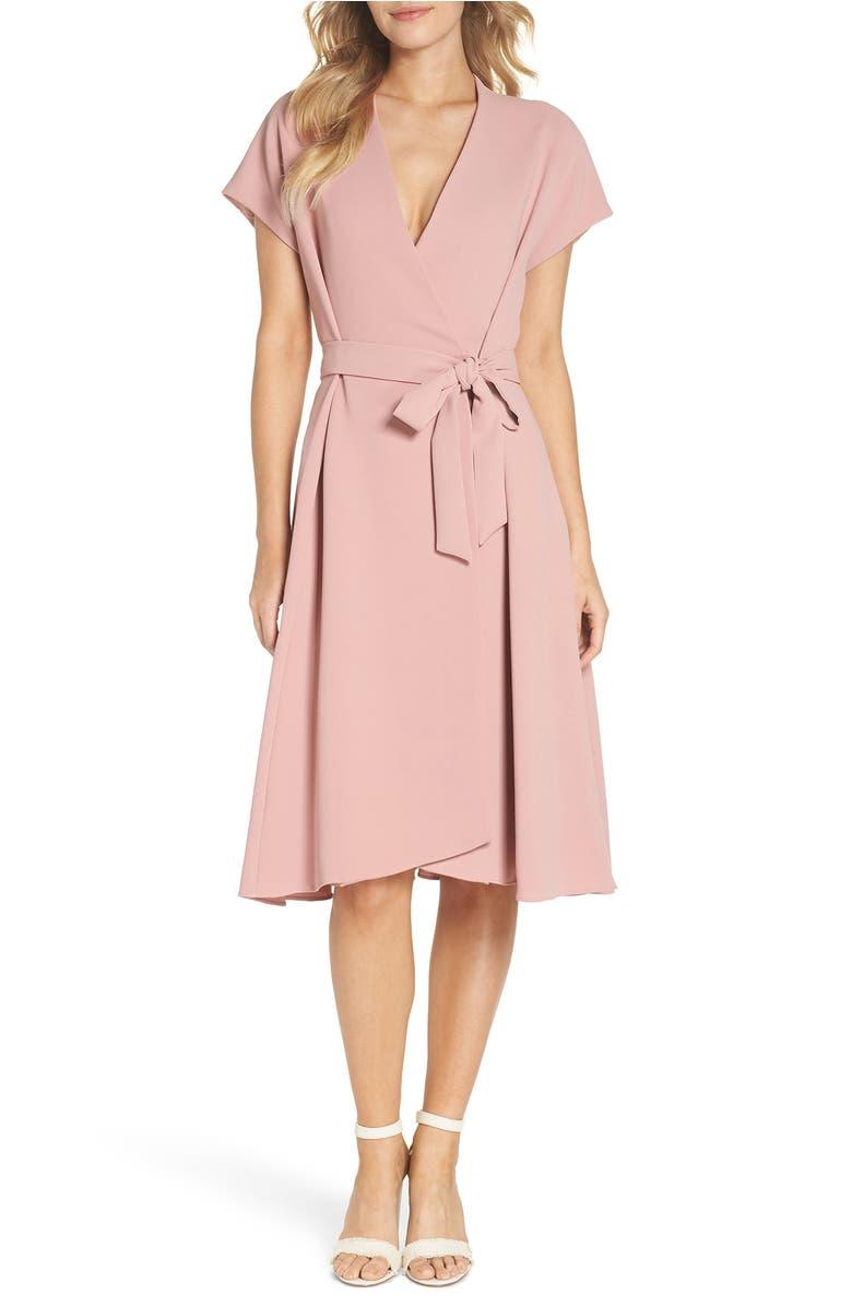 Audrey Wrap Dress,                         Main,                         color, Mauve